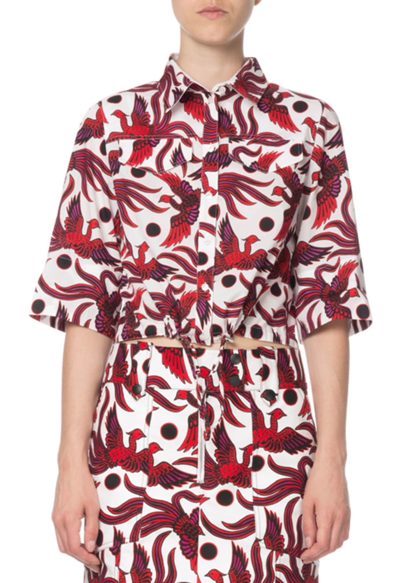 Image 1 of 2: Cropped Phoenix-Print Short-Sleeve Top