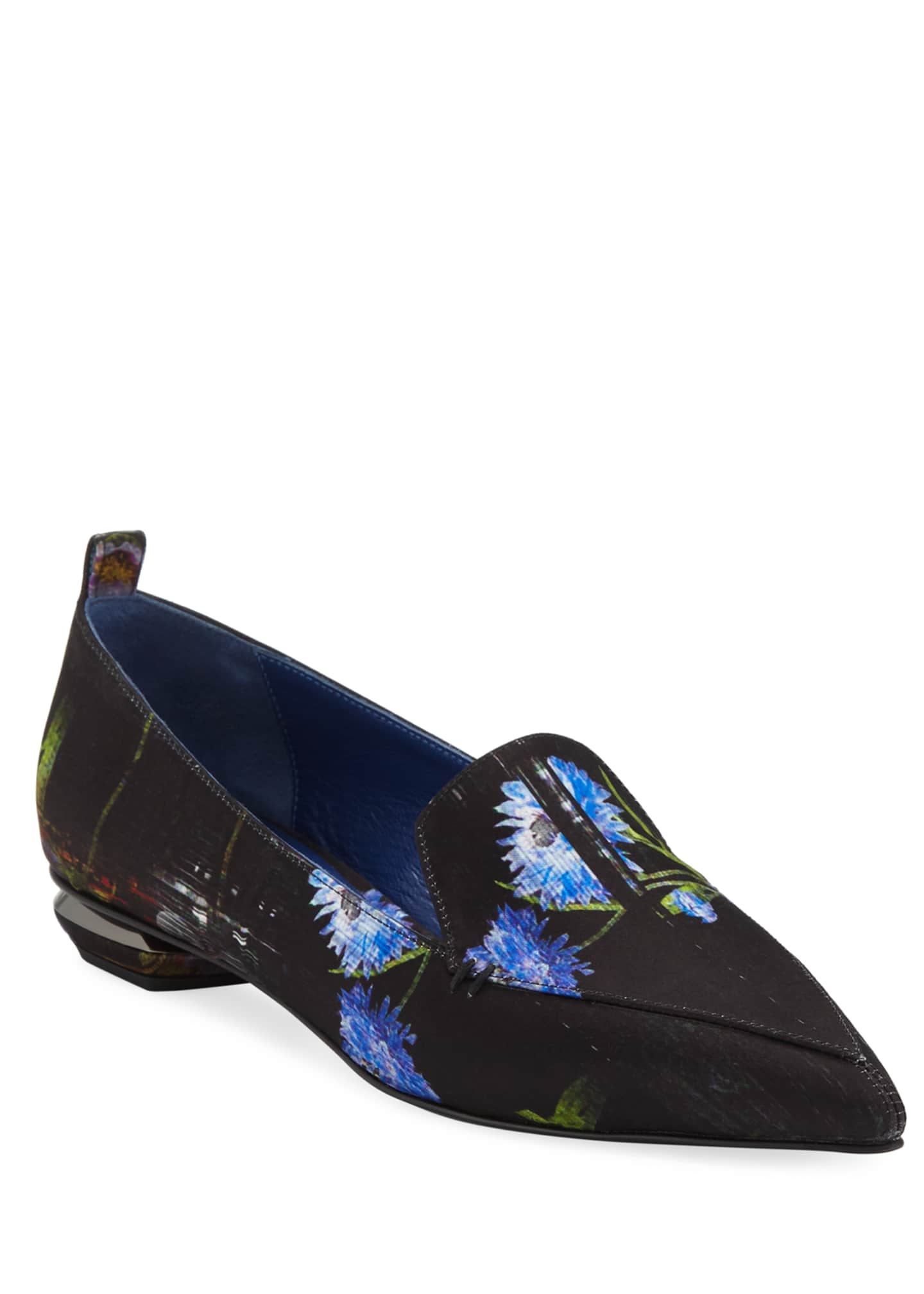 Nicholas Kirkwood Beya Perfection Digital-Print Satin Loafers