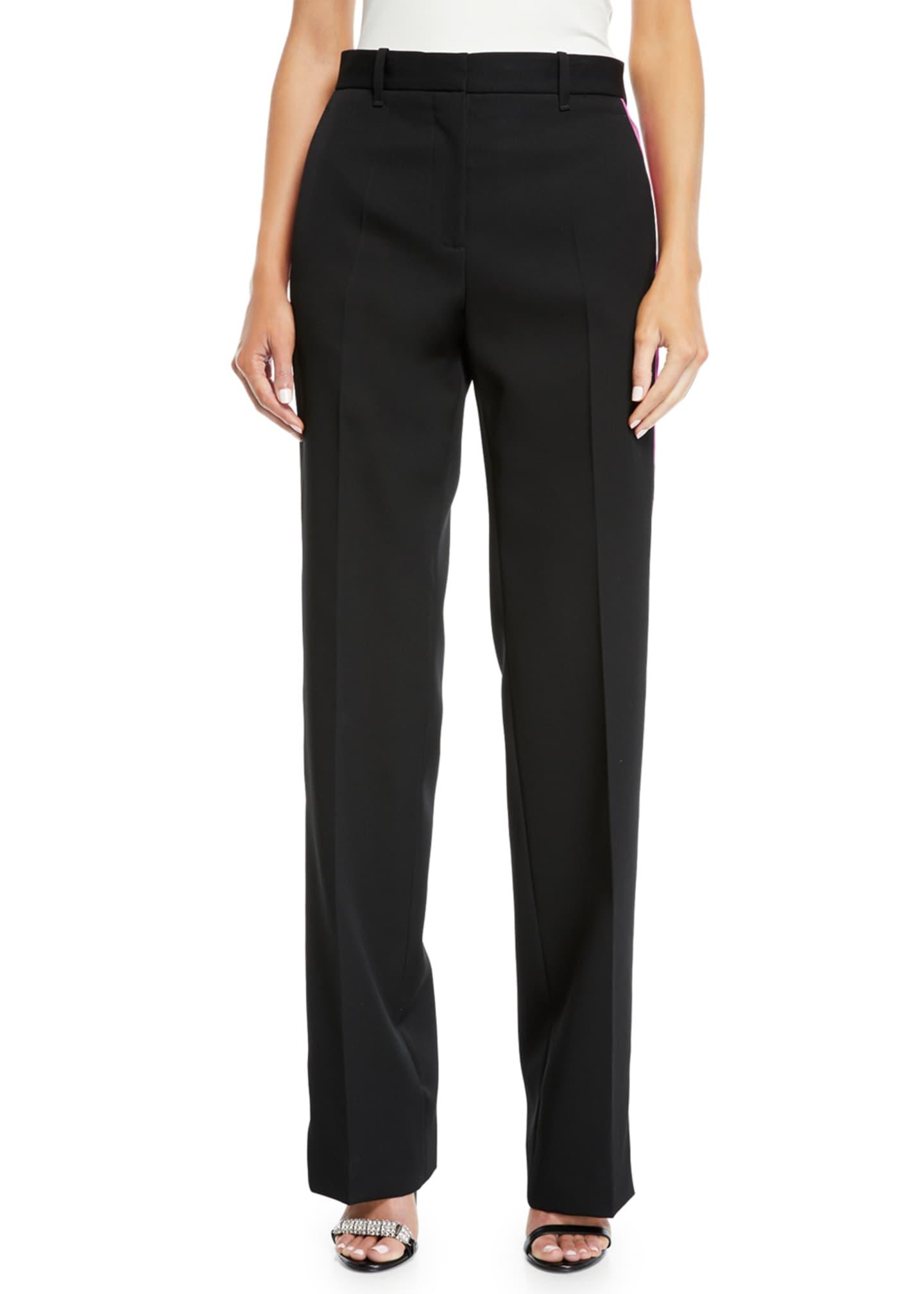 CALVIN KLEIN 205W39NYC Side-Stripe Straight-Leg Wool/Silk Pants