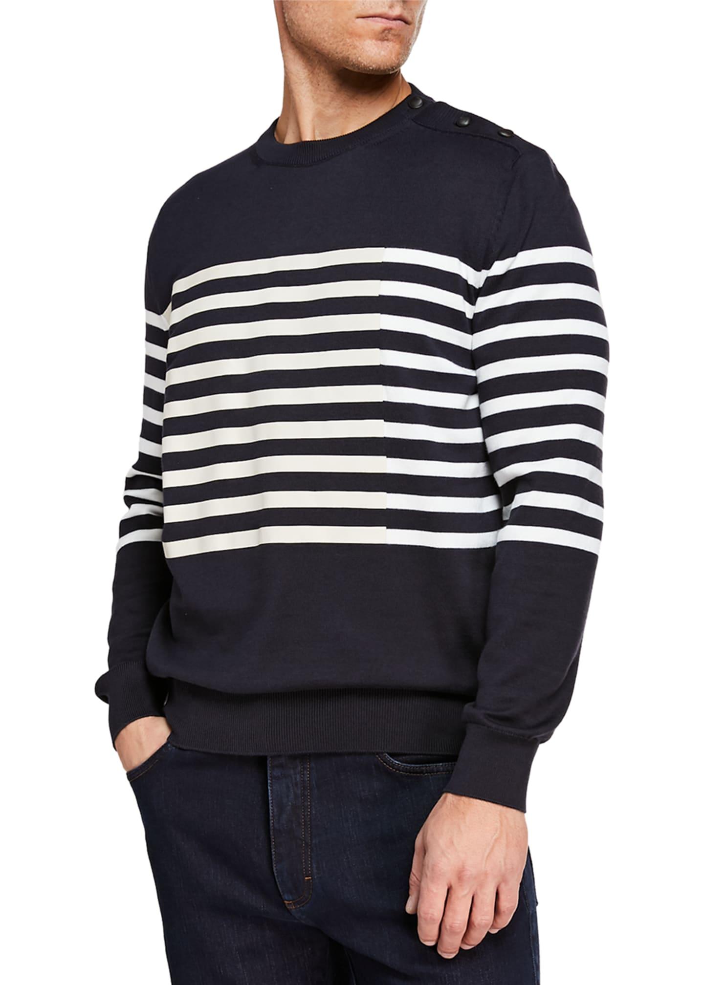 Ermenegildo Zegna Men's Striped Crewneck Sweatshirt with Buttons