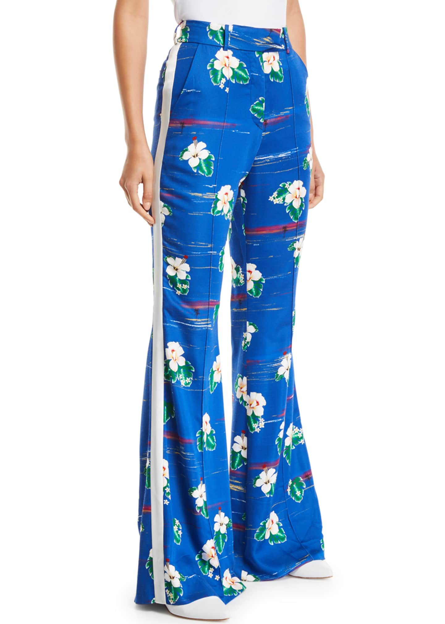 Racil Ziggy High-Waist Hawaii Flower-Print Flare-Leg Pants