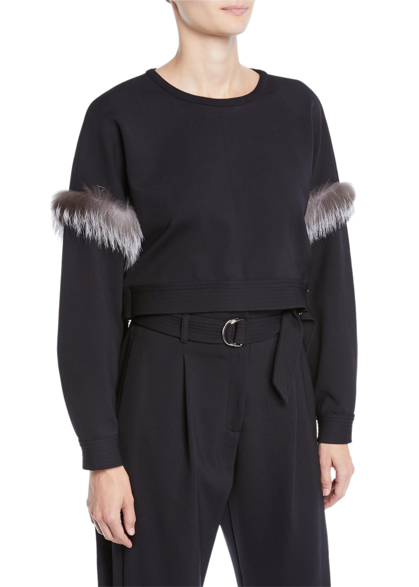 Sally LaPointe Fur-Trim Side-Tie Cropped Crewneck Top