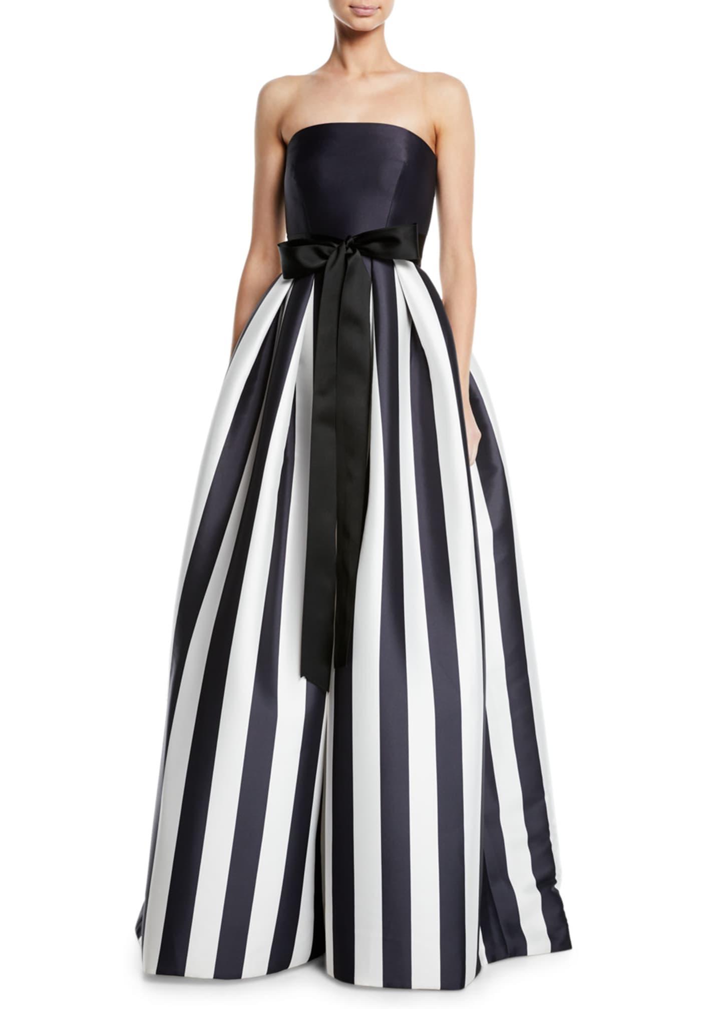 Monique Lhuillier Striped Mikado Bow-Waist Strapless Ball Gown