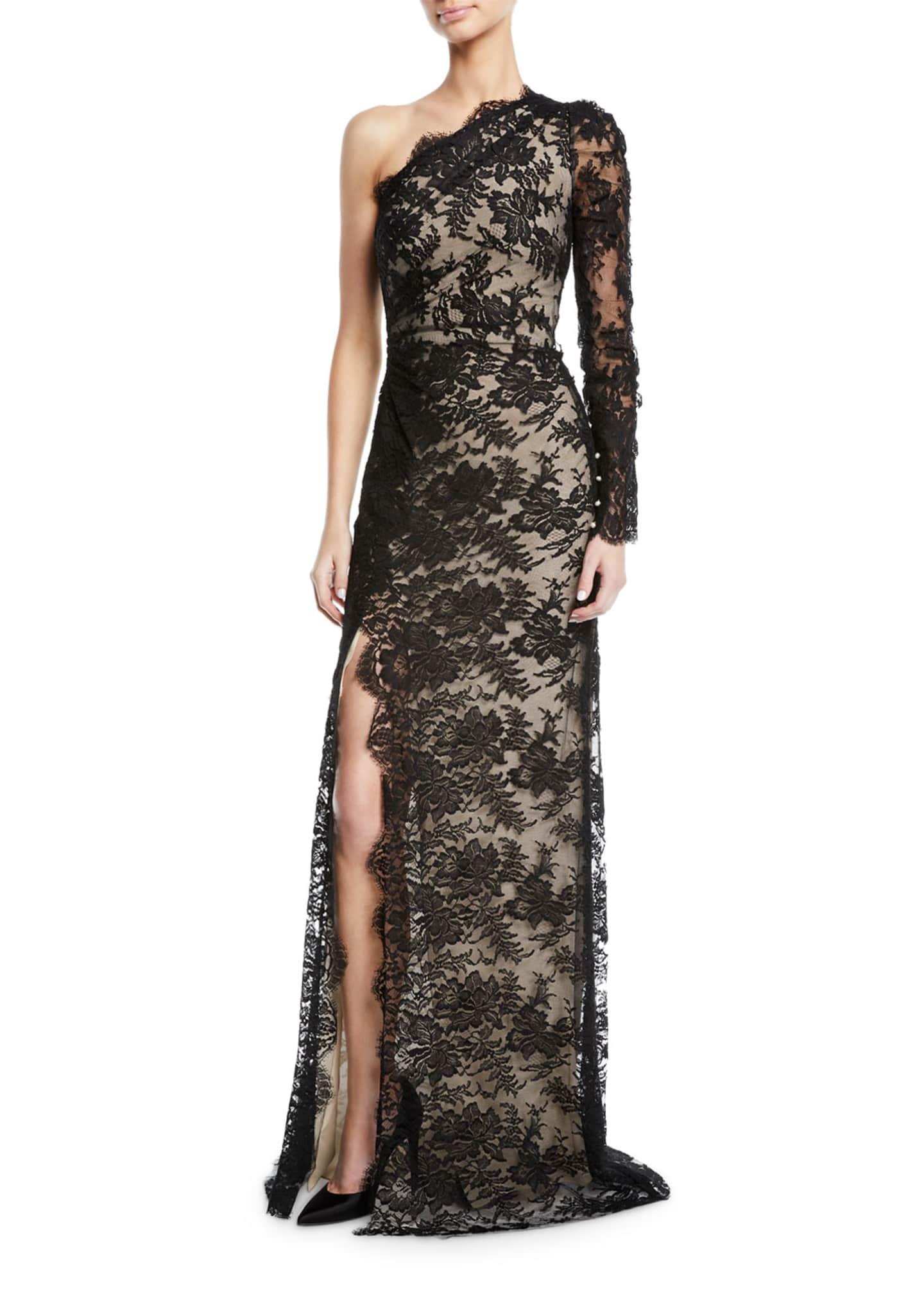 Monique Lhuillier One-Shoulder Lace Overlay Gown