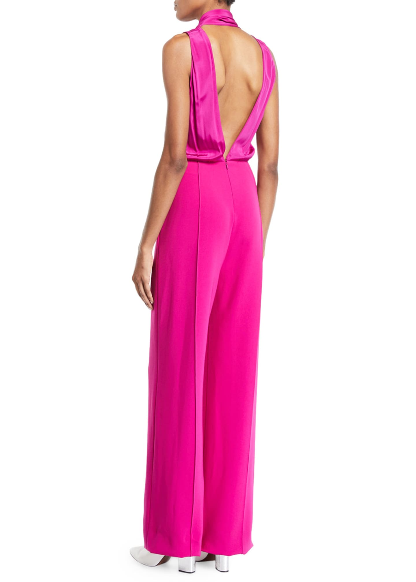 Image 2 of 3: Virginie Crepe Open-Back Tie-Neck Sleeveless Jumpsuit
