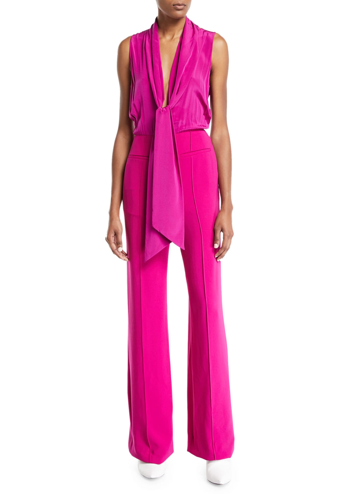 Image 3 of 3: Virginie Crepe Open-Back Tie-Neck Sleeveless Jumpsuit