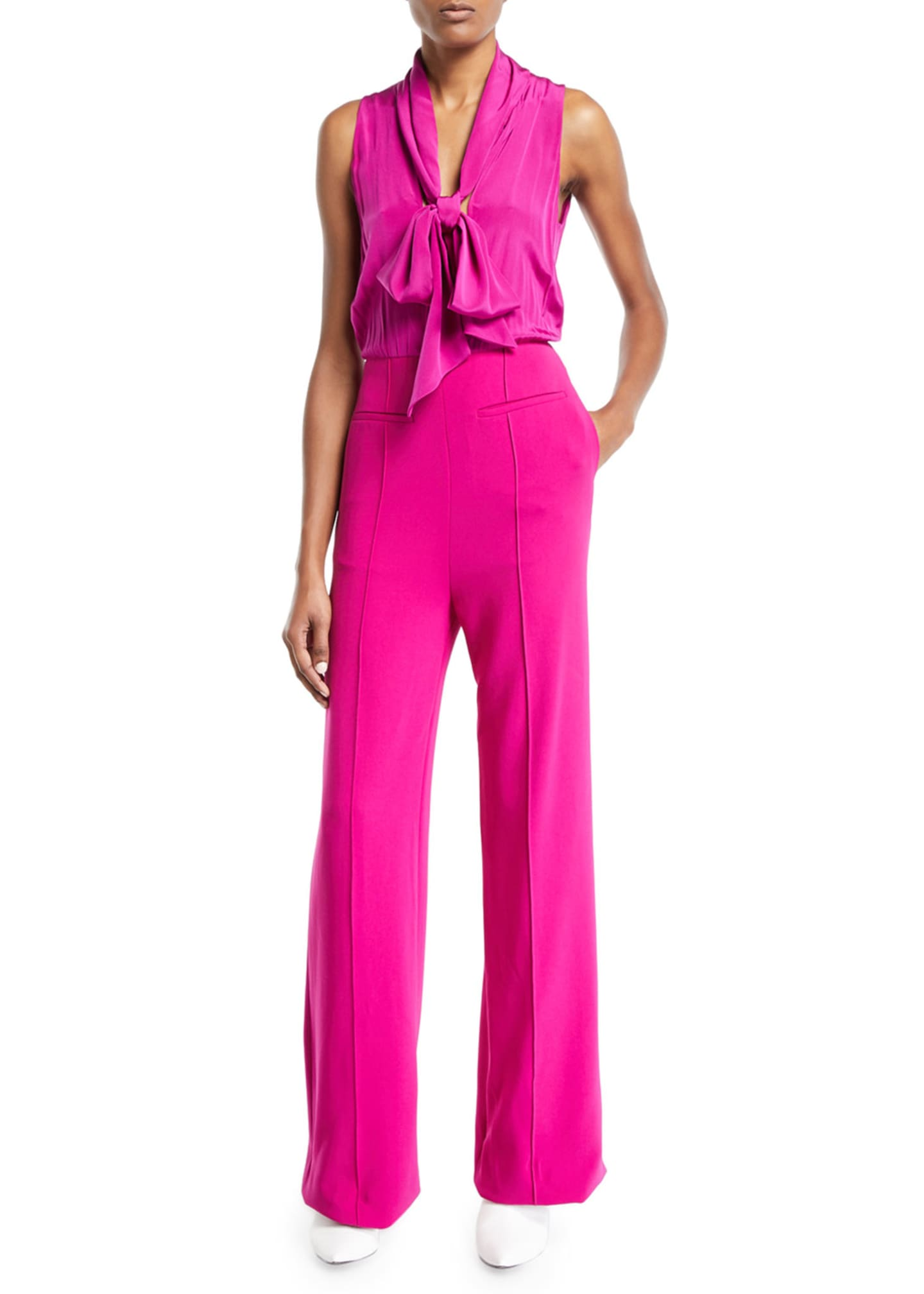 Image 1 of 3: Virginie Crepe Open-Back Tie-Neck Sleeveless Jumpsuit