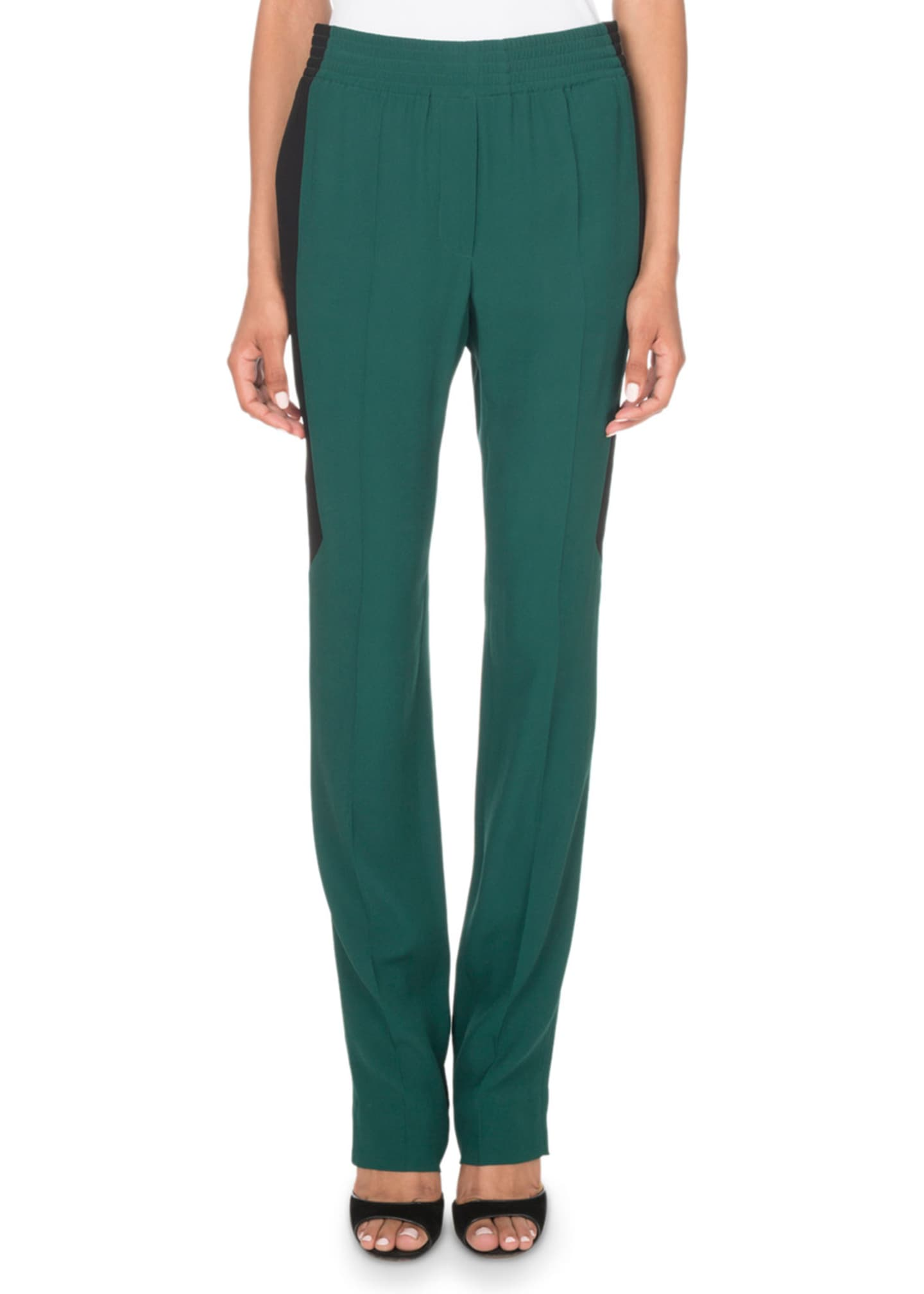 Givenchy Pull-On Colorblocked Crepe & Satin Pants