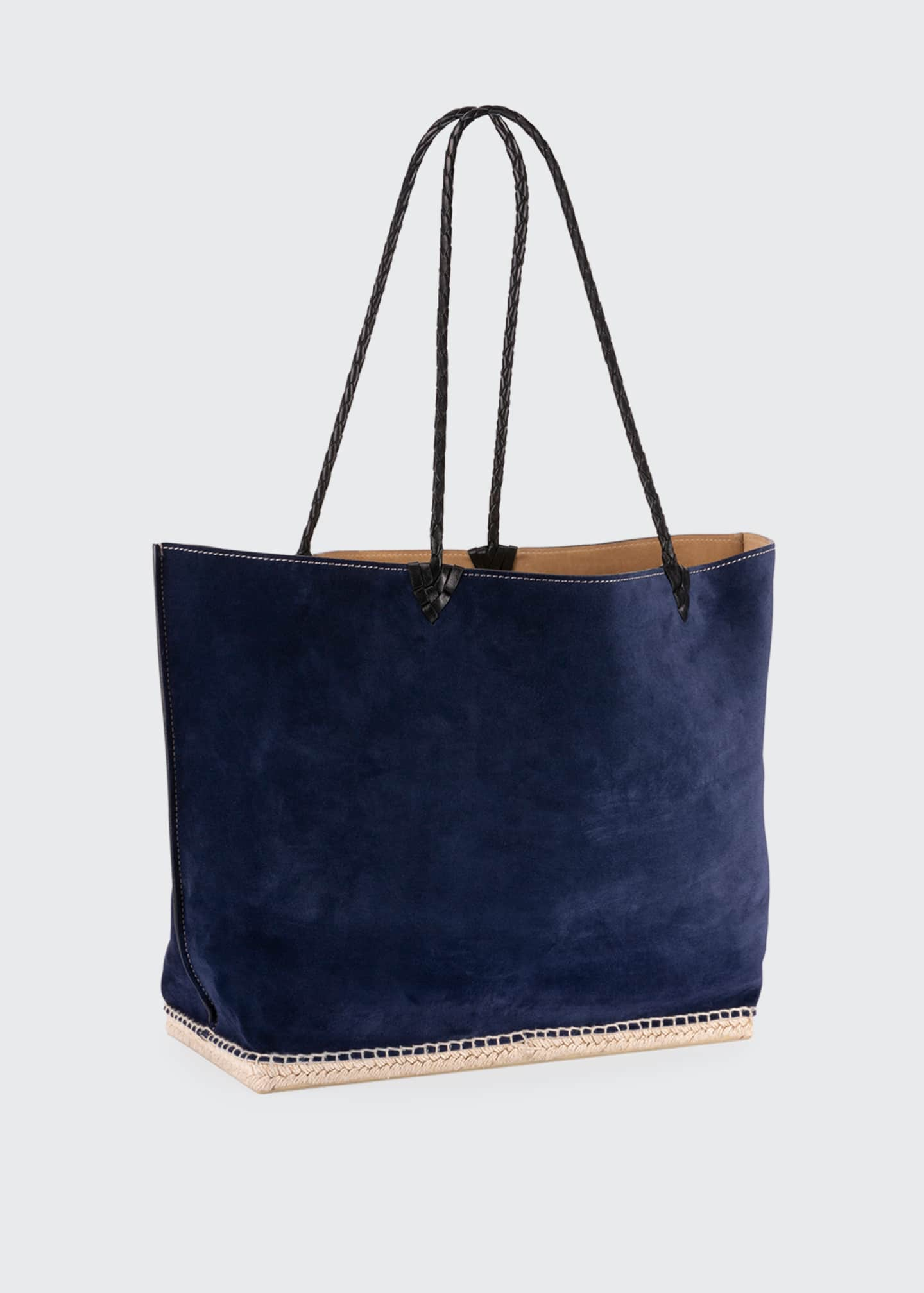 Image 4 of 6: Espadrille Large Suede Shoulder Tote Bag