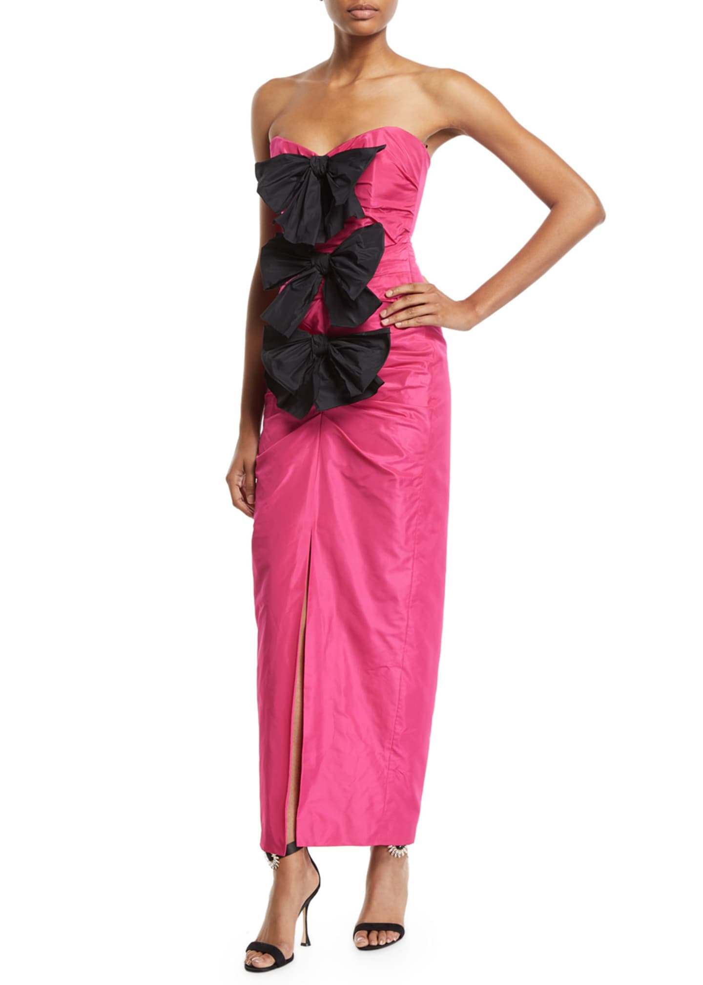 Carmen March Bowed Strapless Taffeta Gown