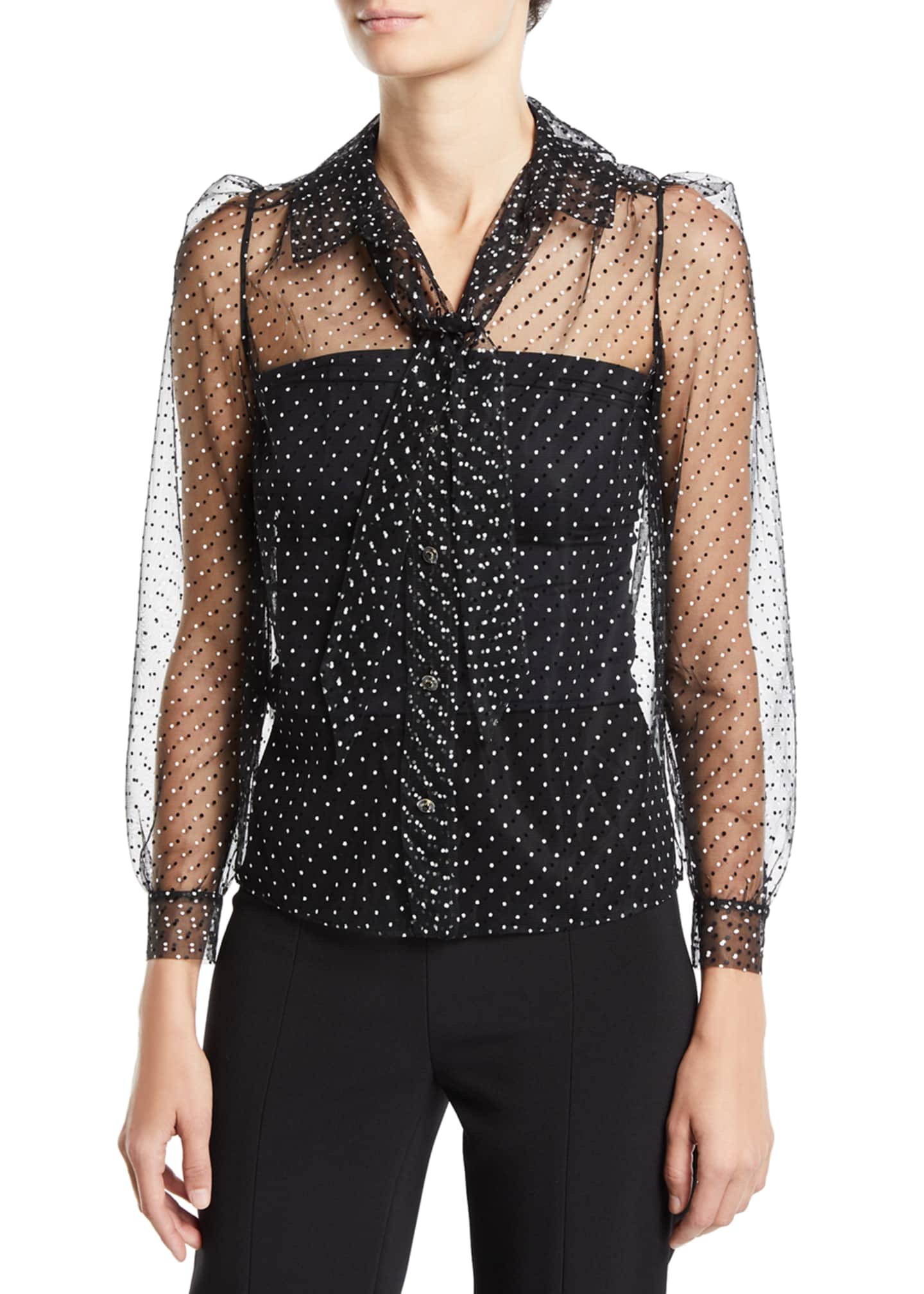 Image 1 of 2: Polka-Dotted Tulle Button-Front Blouse