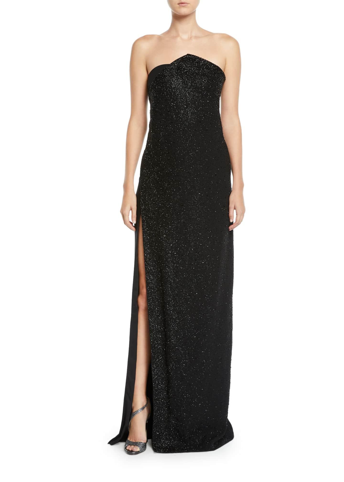 Ahluwalia Chalet Strapless Slit-Skirt Shimmer Column Gown