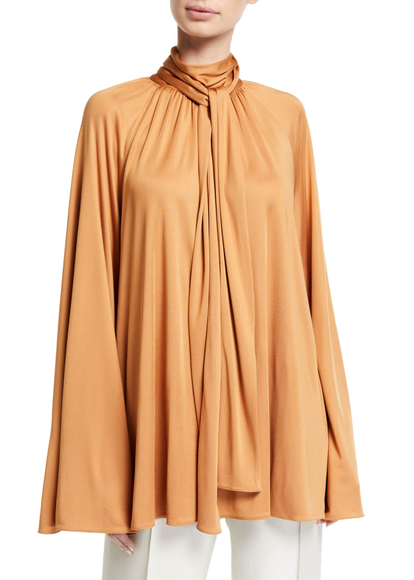 THE ROW Merrian Twisted-Neck Charmeuse Blouse