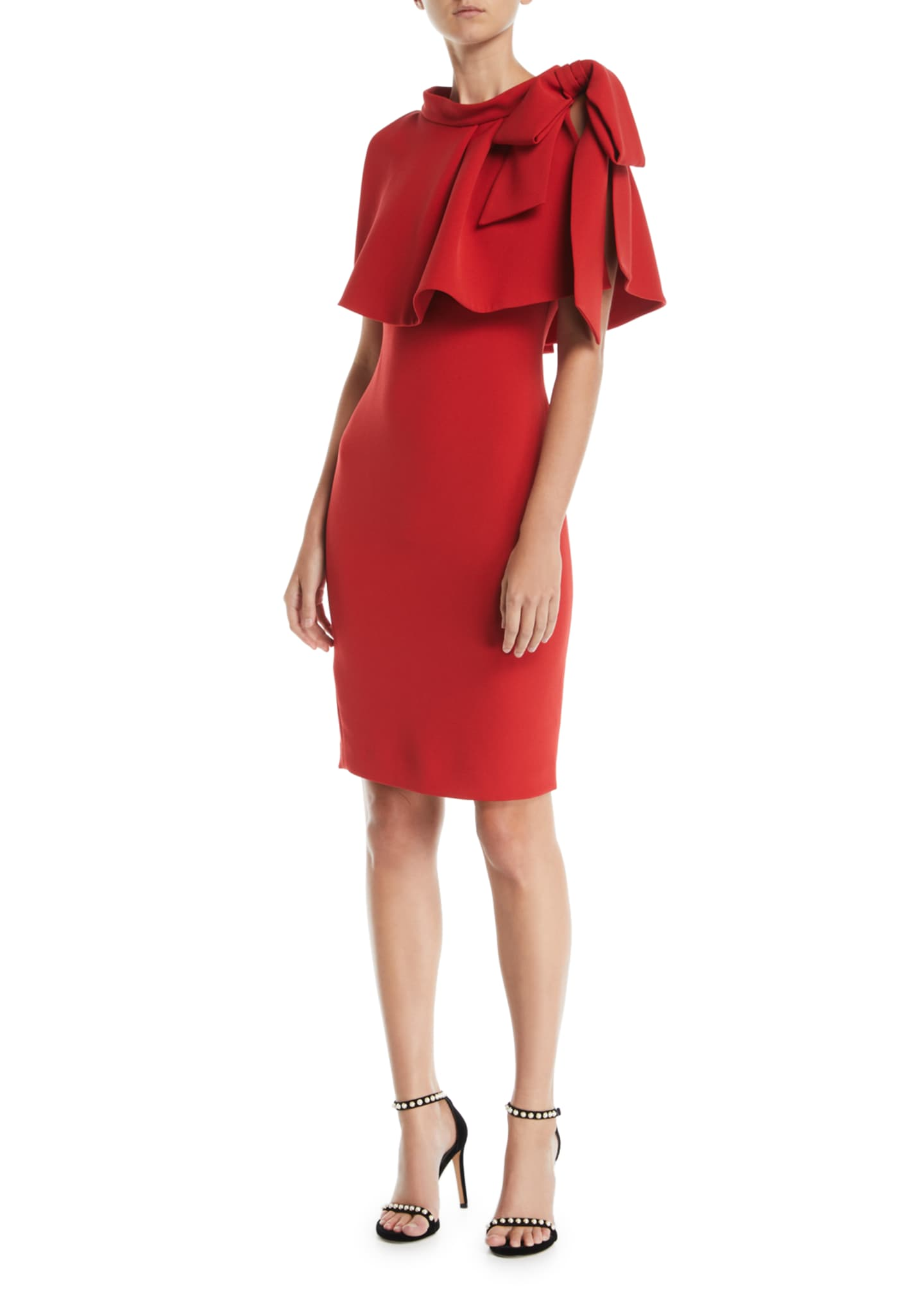 Badgley Mischka Collection Sheath Popover Cape Dress