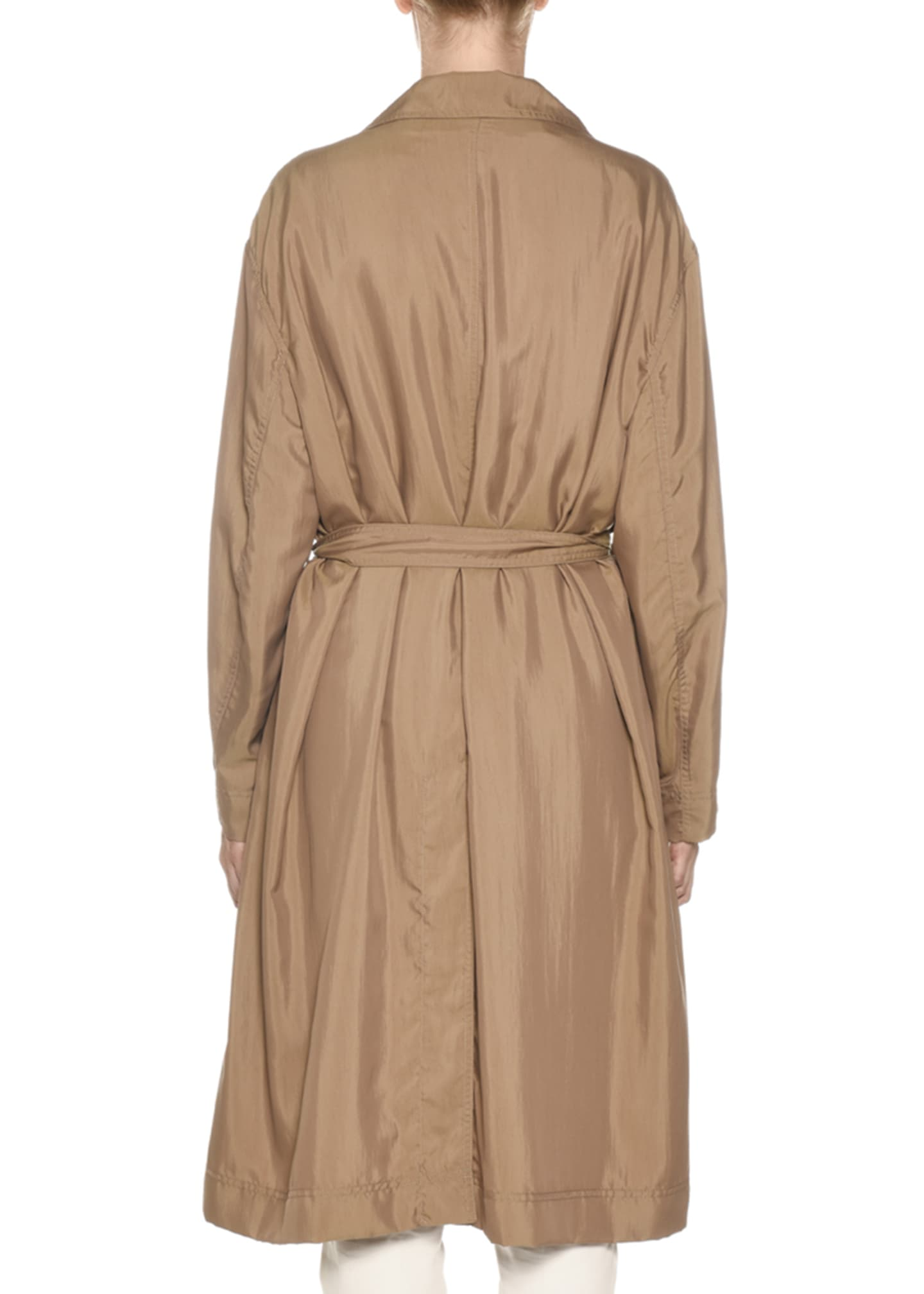 Image 2 of 2: Belted Tech-Cloth Utility Trench Coat