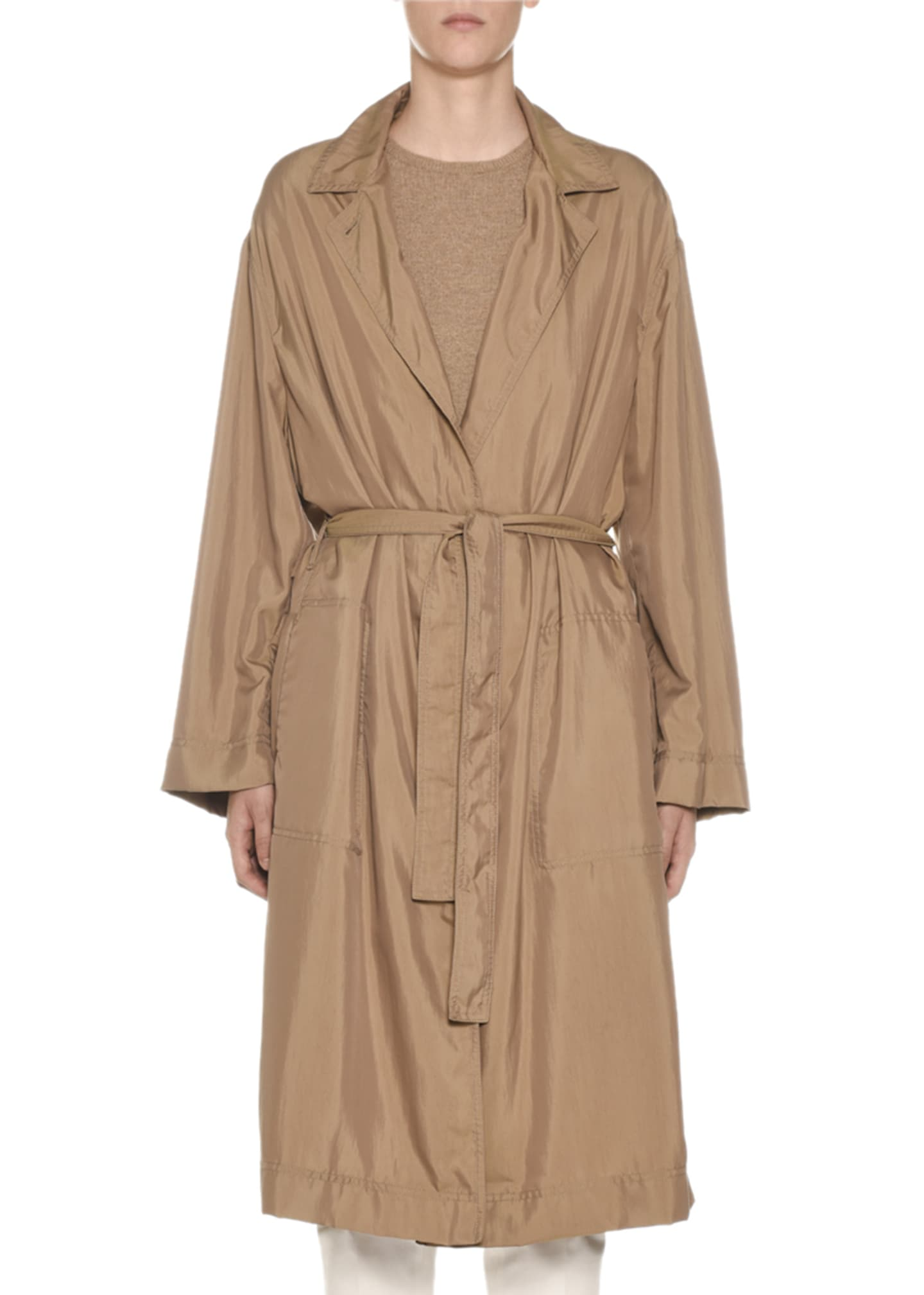 Image 1 of 2: Belted Tech-Cloth Utility Trench Coat