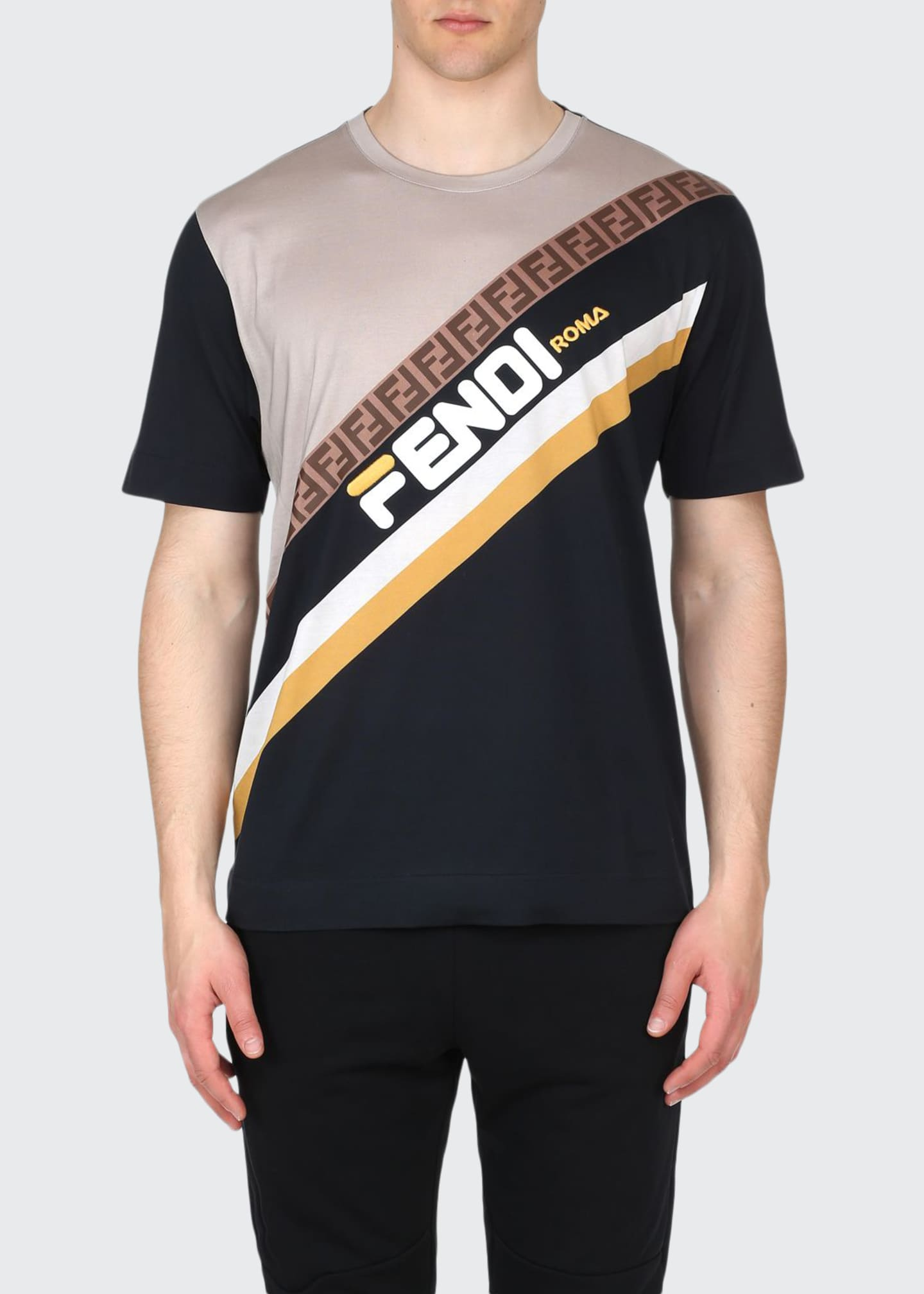 Fendi Men's Fendi Mania Stripe Oversized Pattern T-Shirt