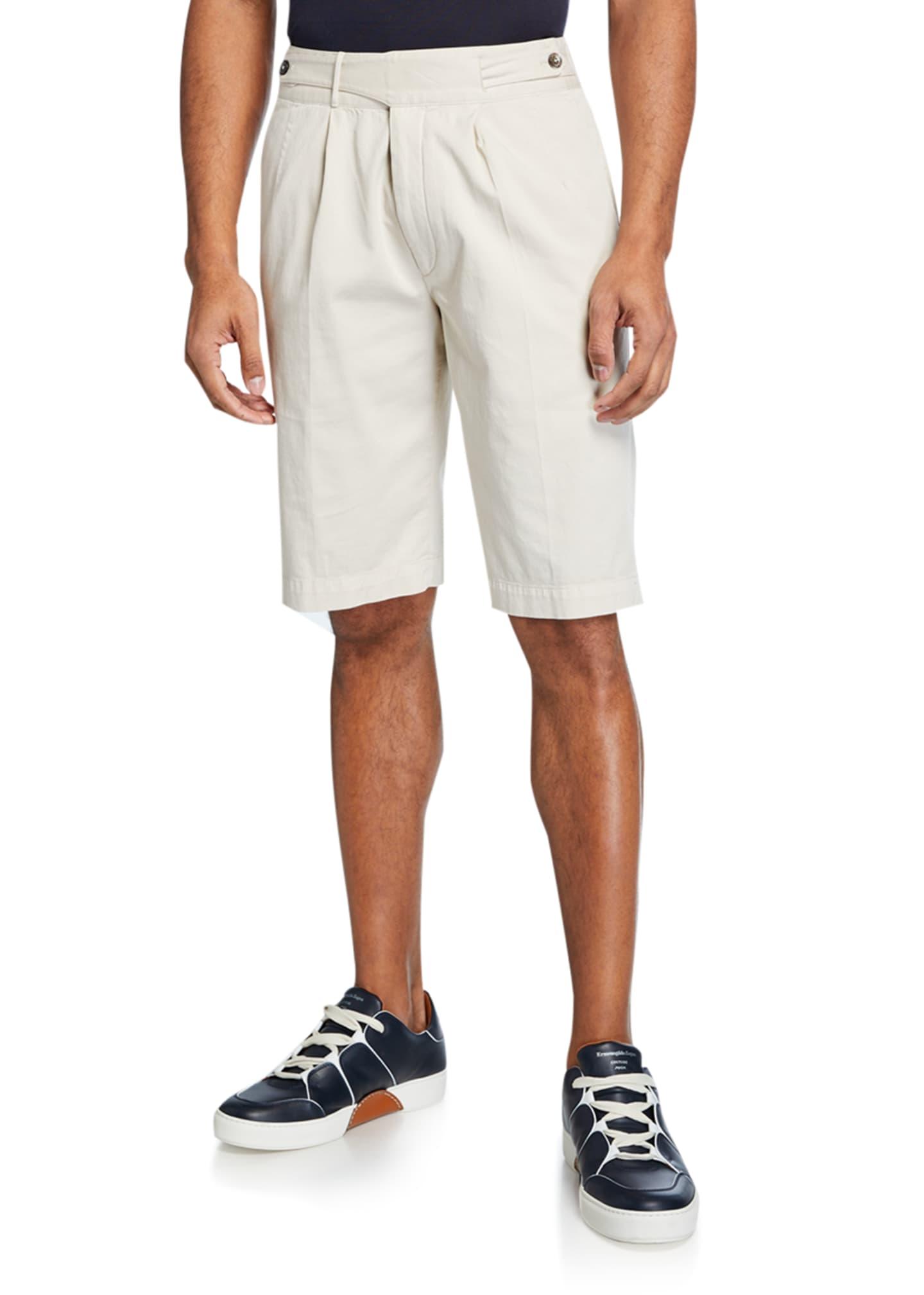 Ermenegildo Zegna Men's Gurkha-Waist Cotton Shorts