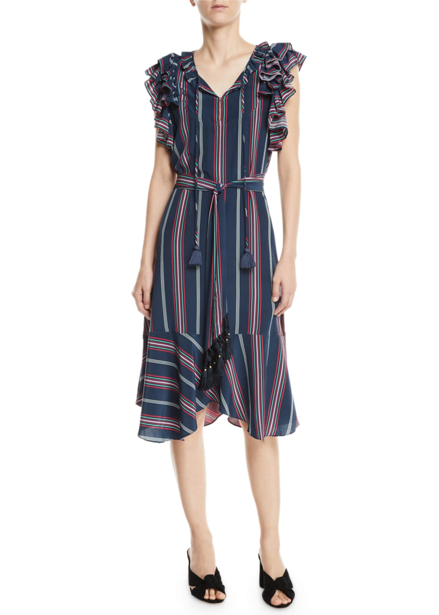 Figue Tessa Flutter-Trim Striped Midi Dress
