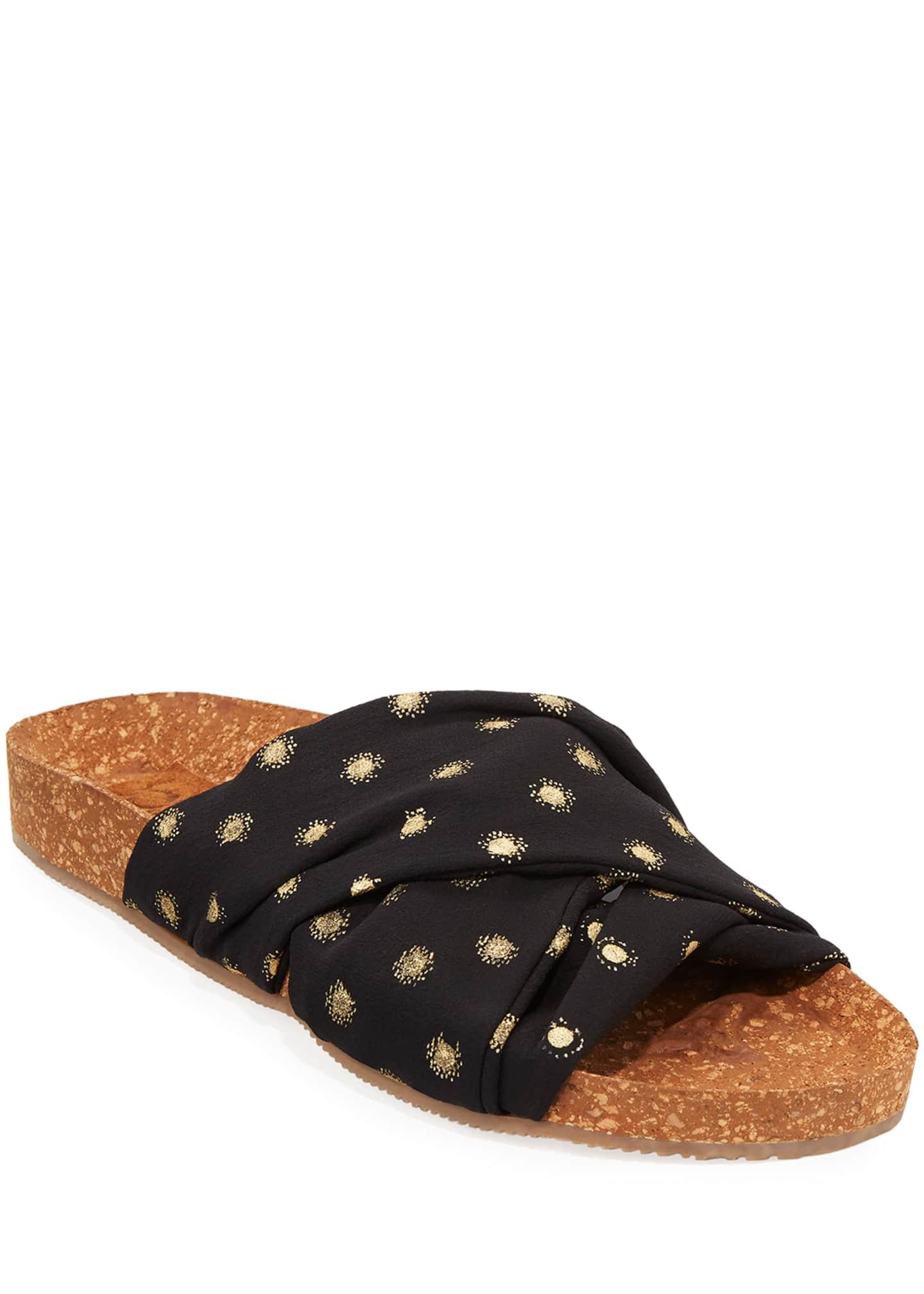 Figue Suki Metallic-Dot Cork Flat Sandals