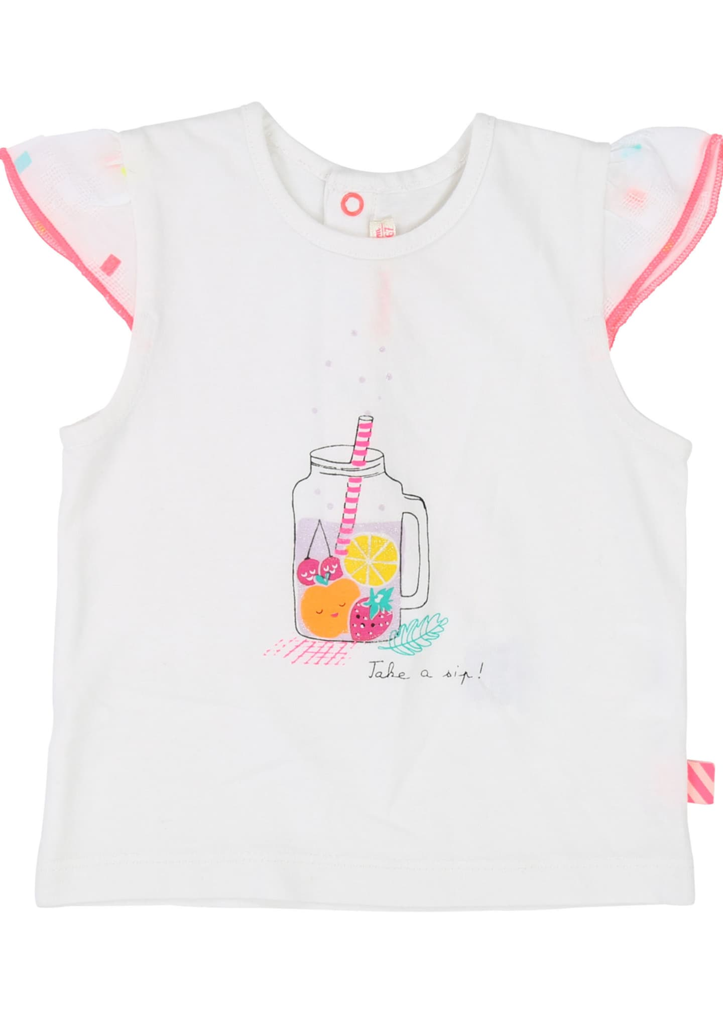 Billieblush Fruit Drink Graphic Cap-Sleeve Tee, Size 12M-3