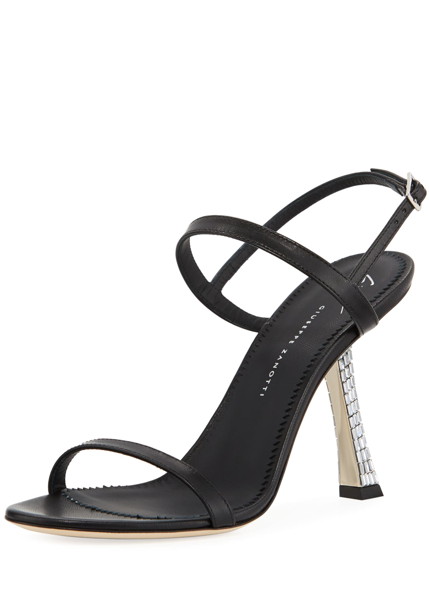 Giuseppe Zanotti Leather Sandals with Crystal Heel