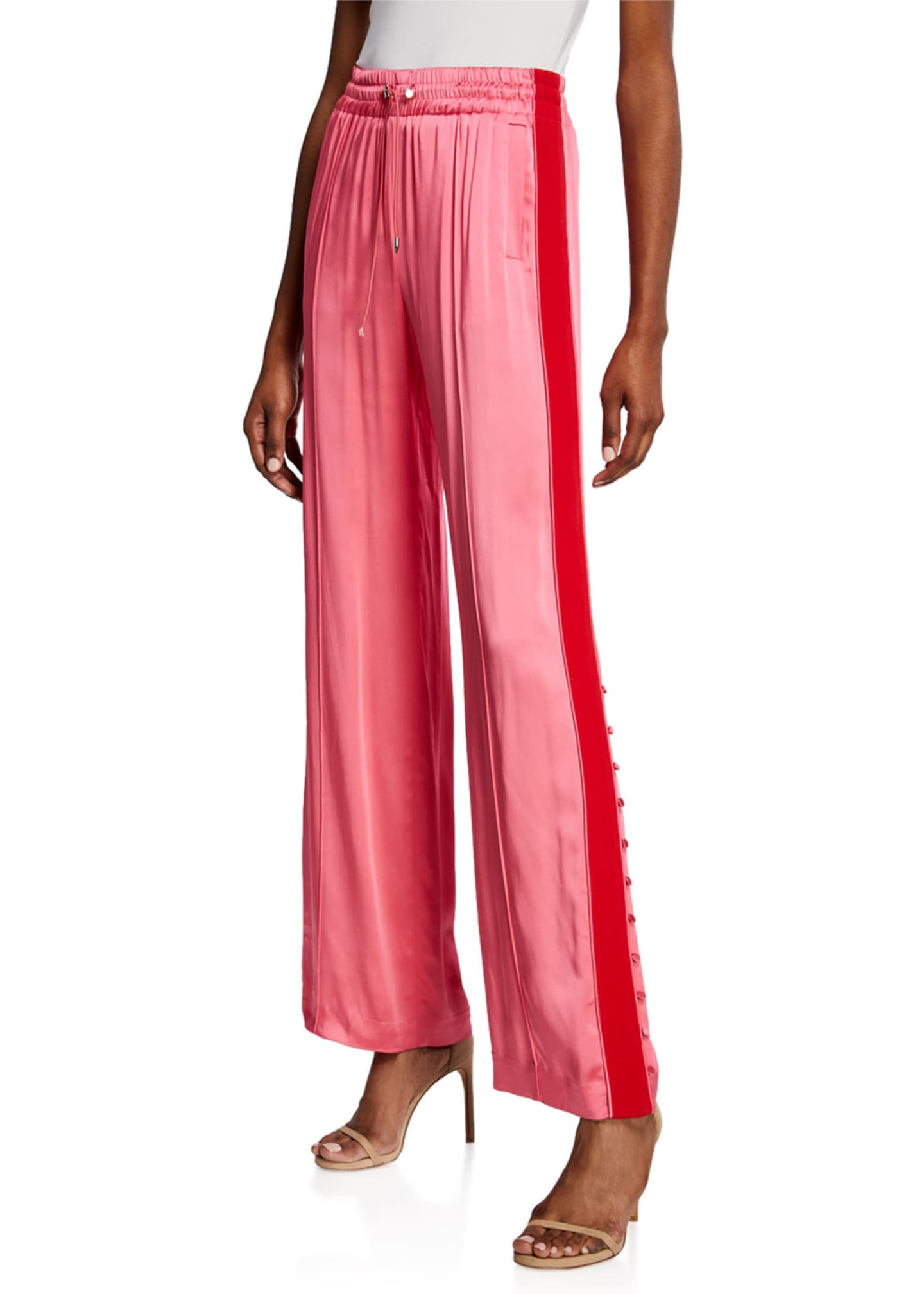 Jonathan Simkhai Side-Stripe Sateen Combo Track Pants