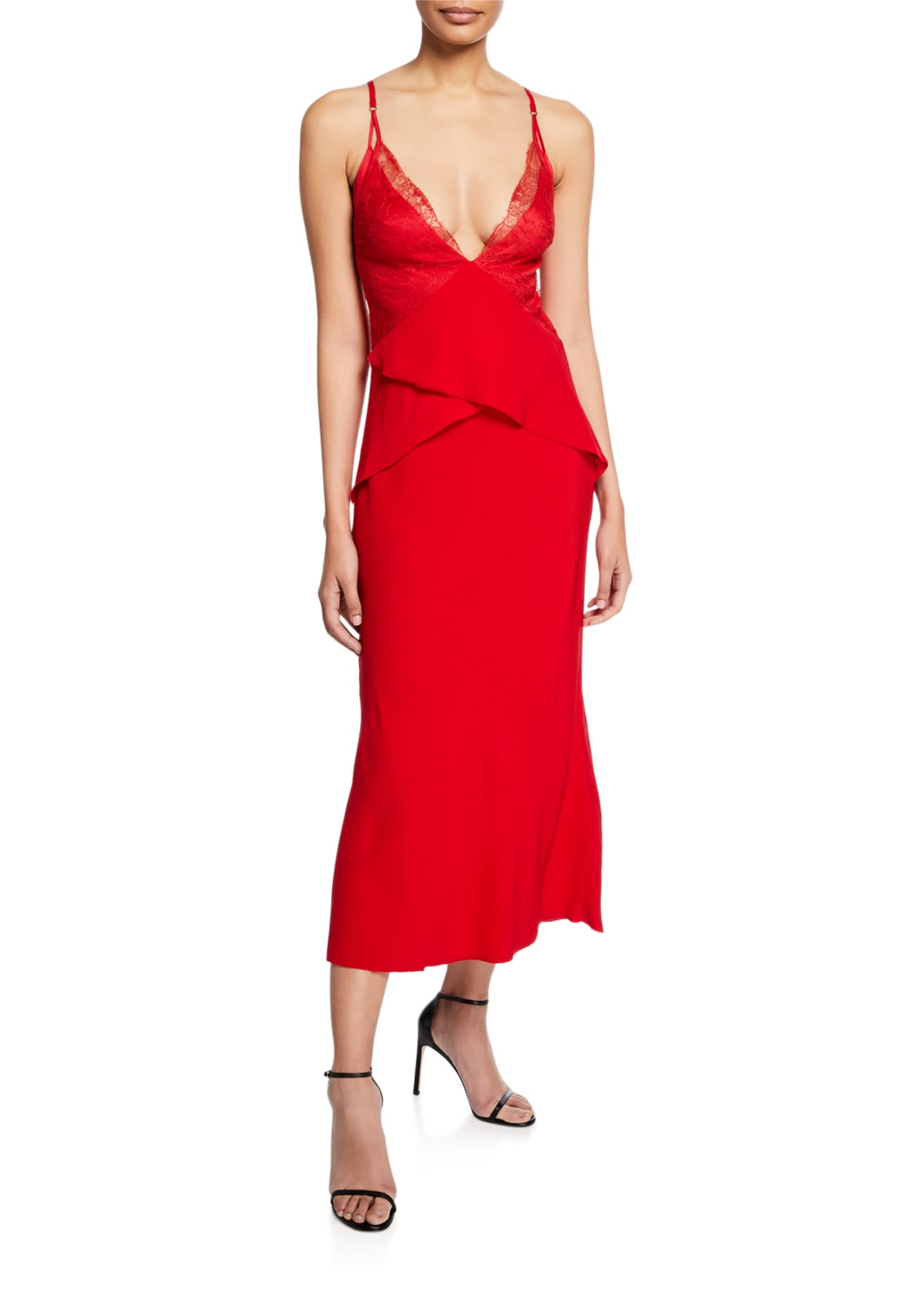 Dion Lee Satin Lace-Trim Peplum Dress