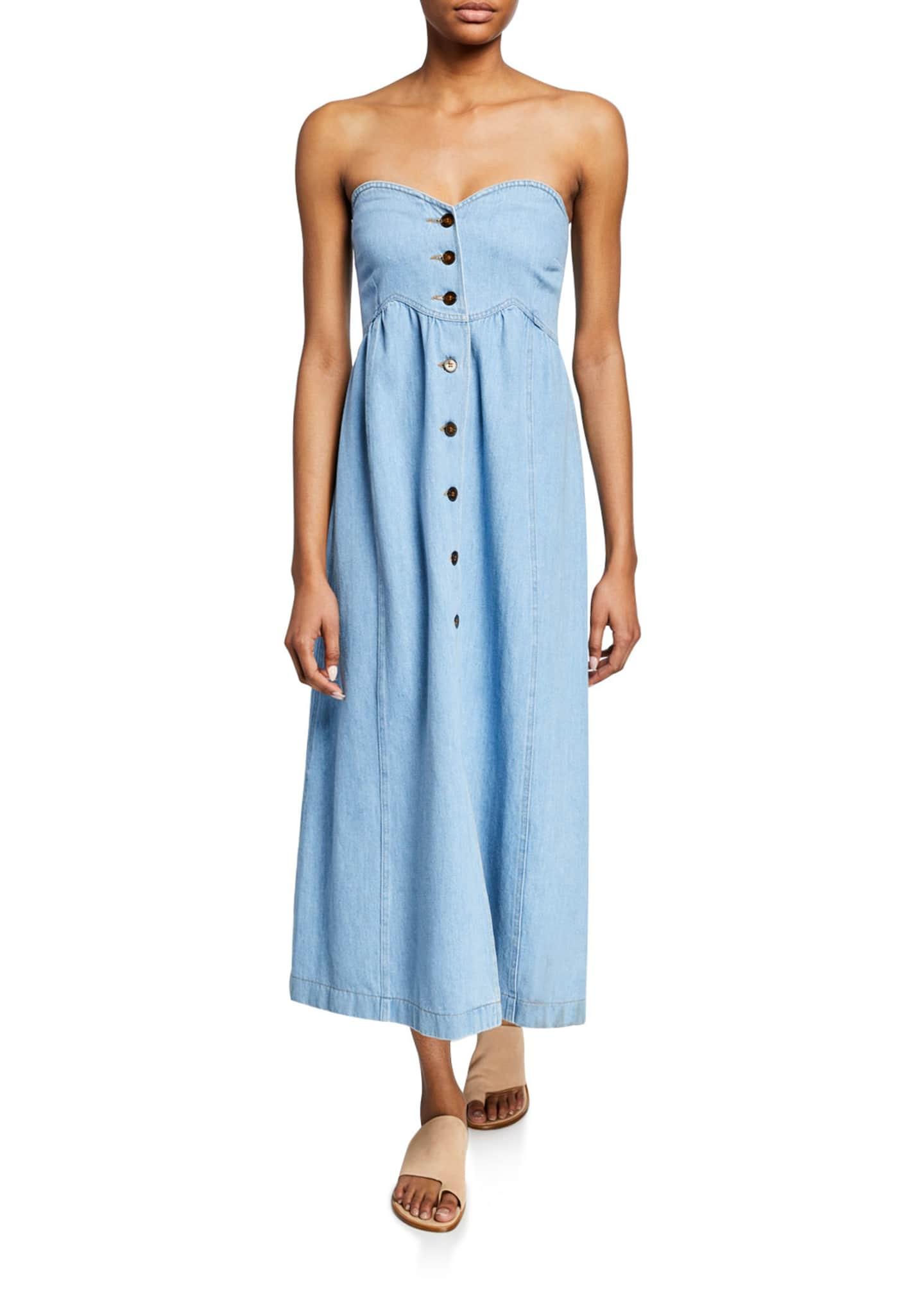 Nanushka Kaia Denim Button-Front Maxi Dress w/ Removable