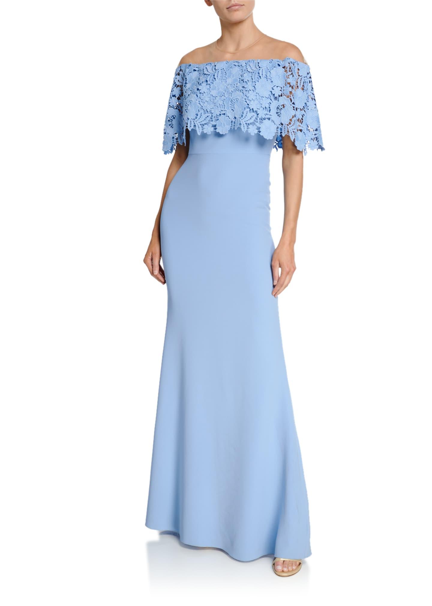 Lela Rose Lace Capelet Gown