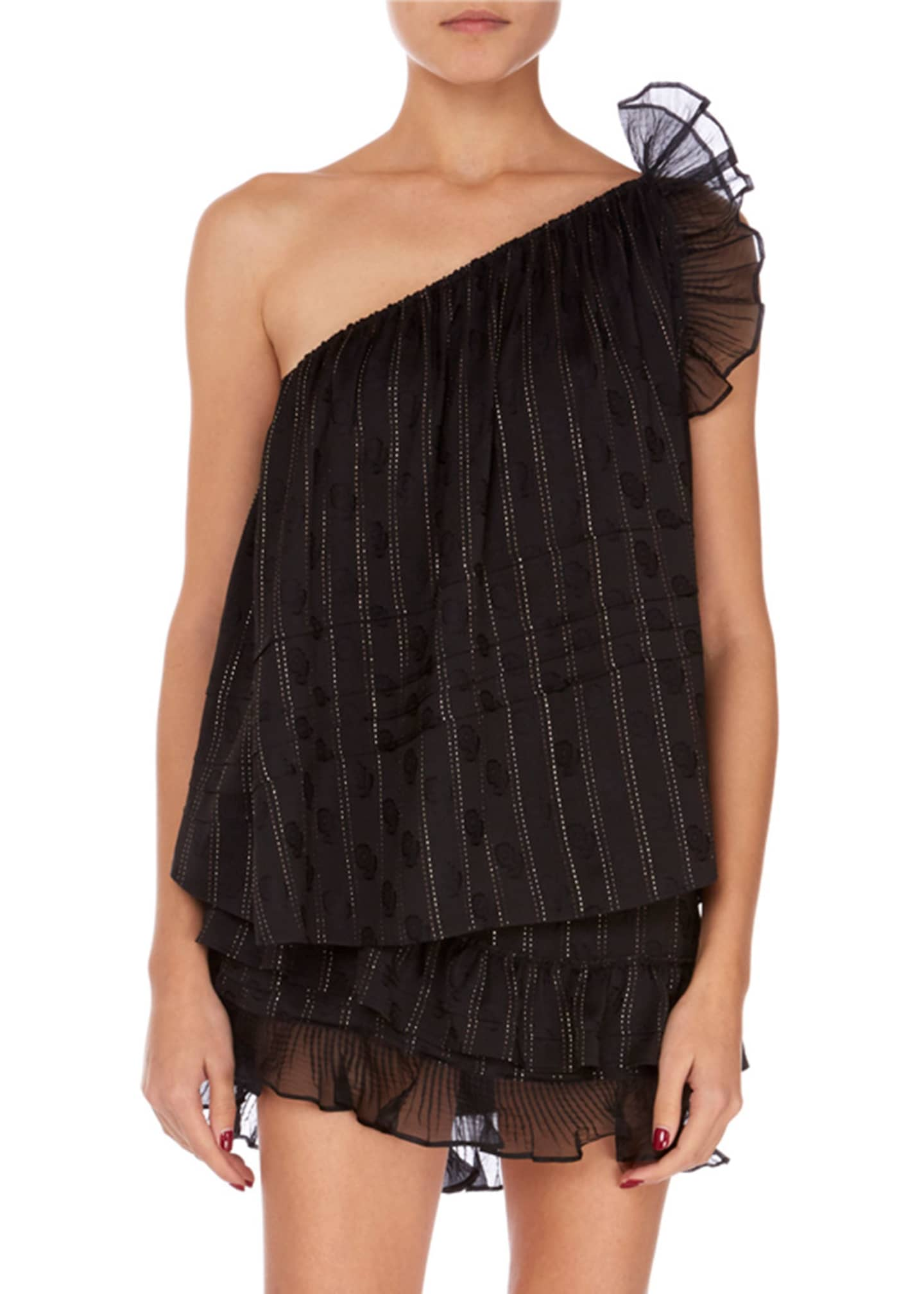 Isabel Marant Melody Shimmer One-Shoulder Ruffle Blouse