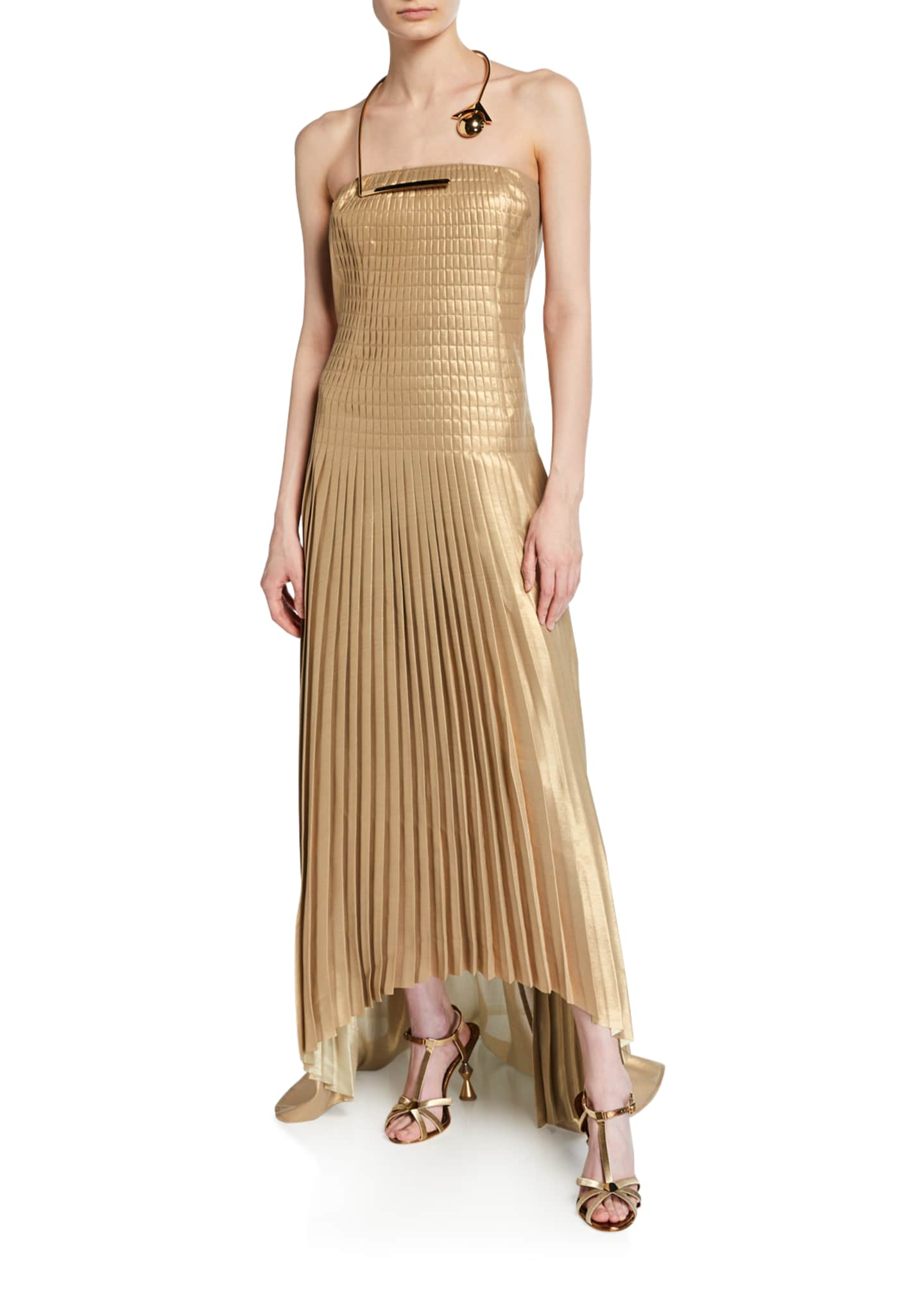 Akris Pleated Strapless Gown with Golden Necklace