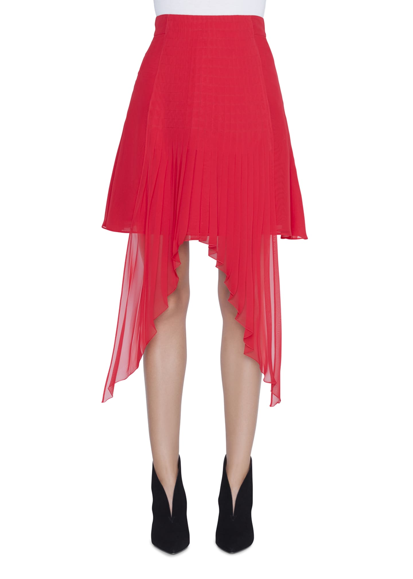 Akris Plisse-Chiffon Handkerchief-Front Skirt