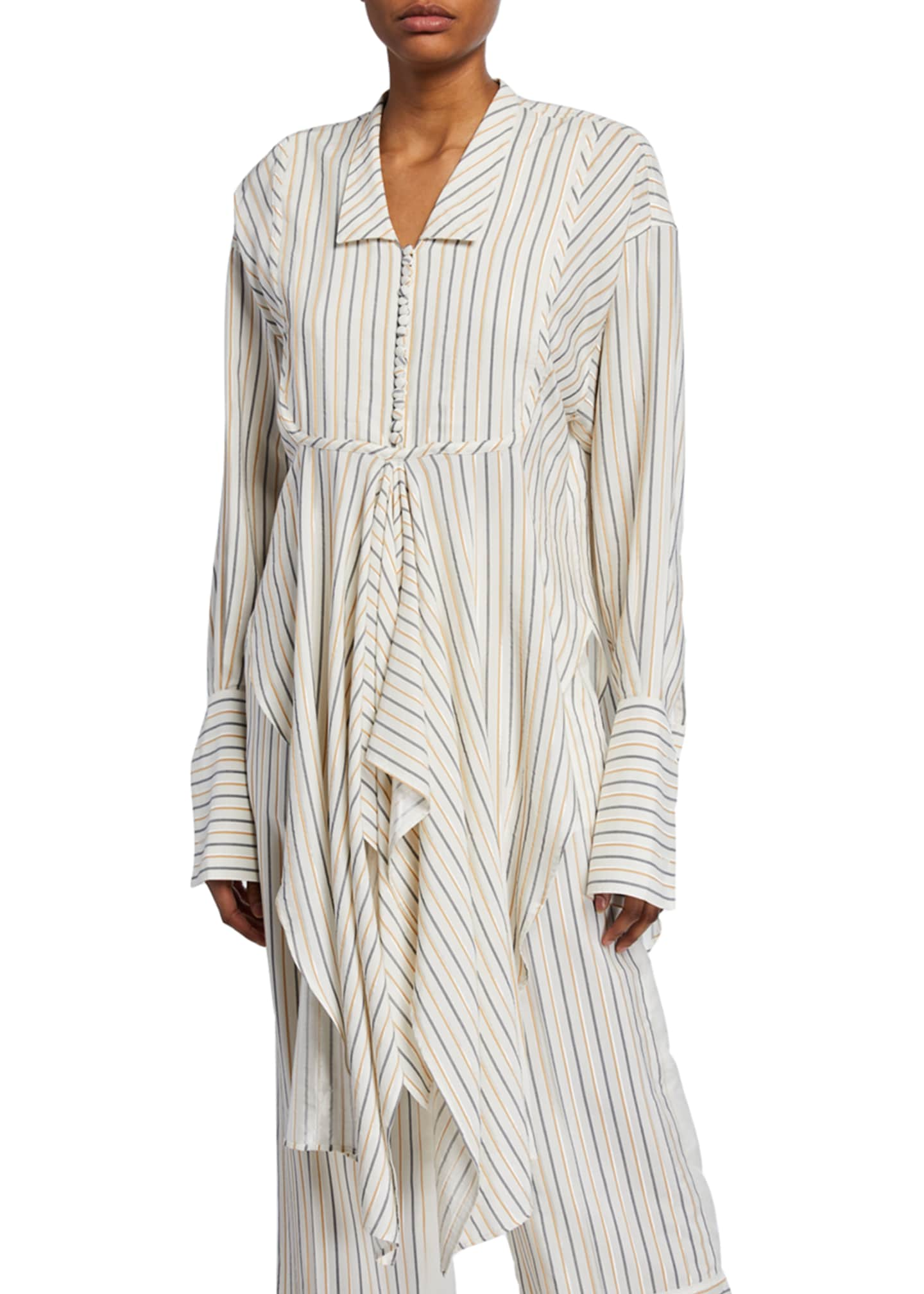 JW Anderson Striped Handkerchief Button-Front Shirt