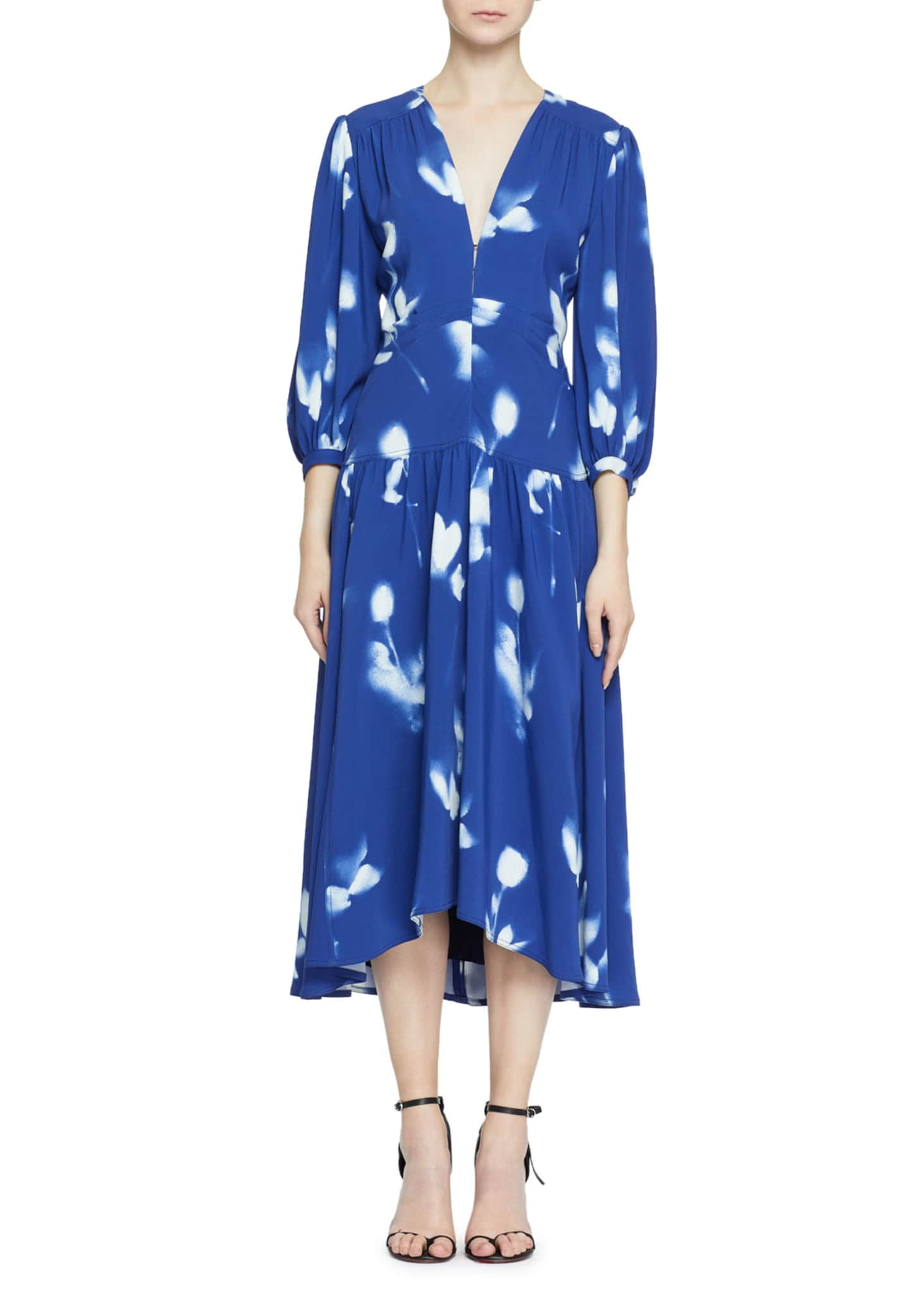Proenza Schouler 3/4-Sleeve Tie-Dye Cady Dress