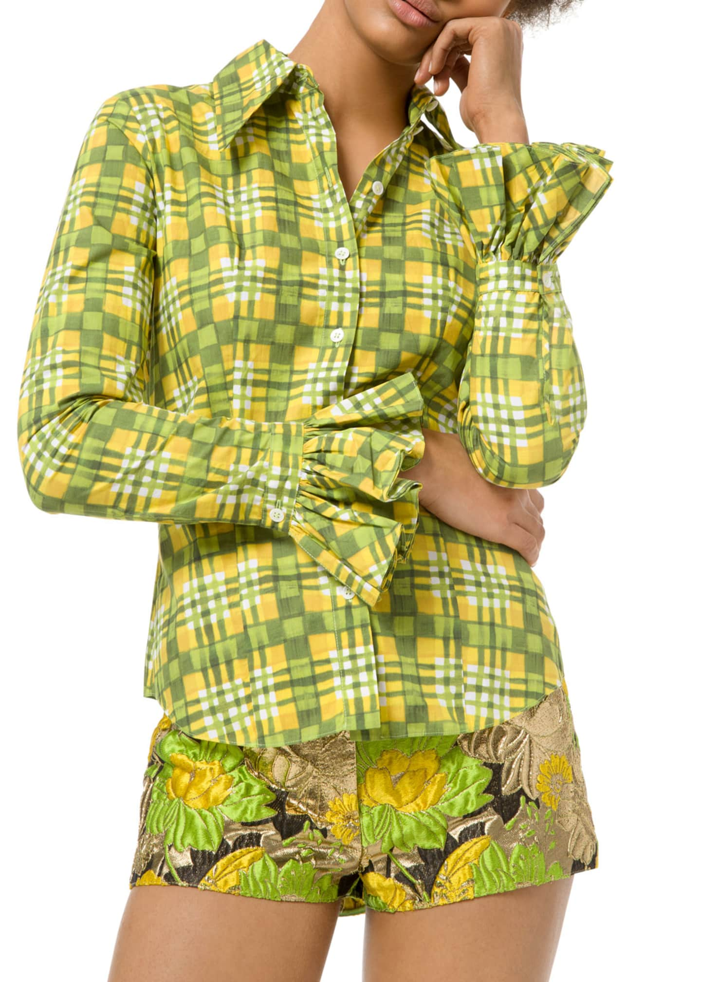 Michael Kors Collection Painterly Madras Poplin Crushed