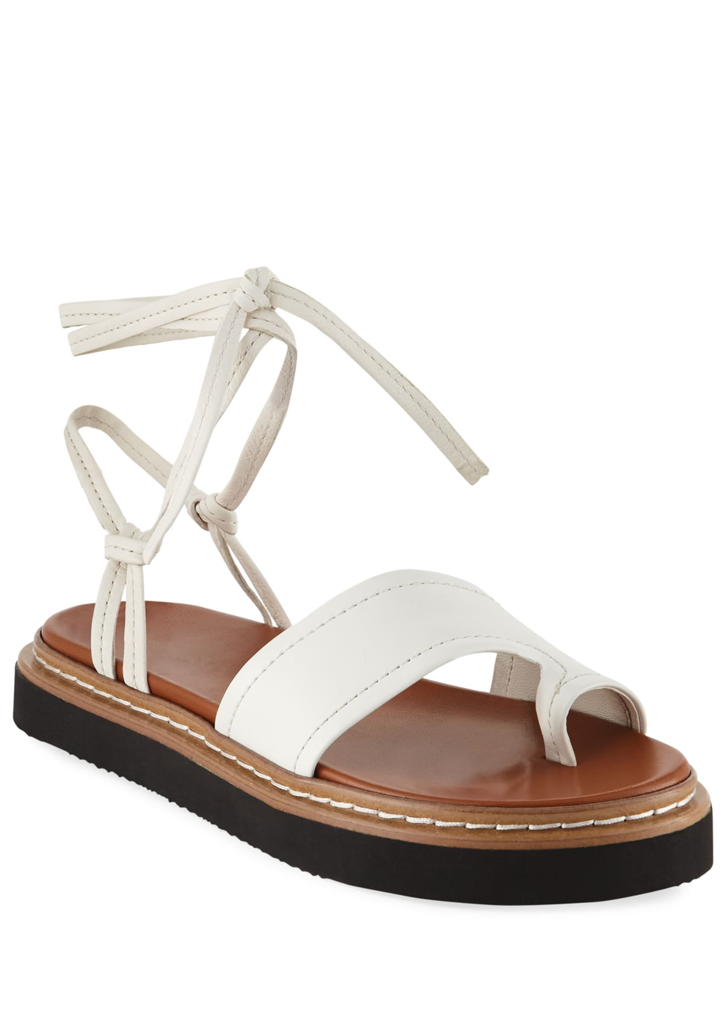 3.1 Phillip Lim Yasmine Leather Ankle-Wrap Platform Sandals