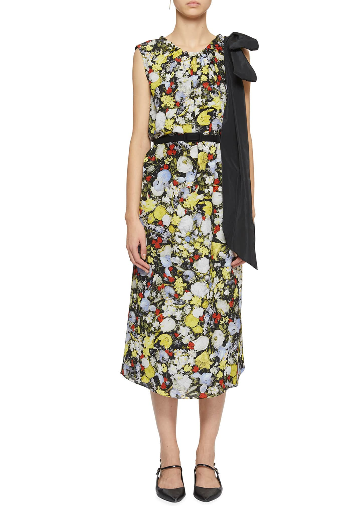 Erdem Breena Bow-Shoulder Floral Midi Dress