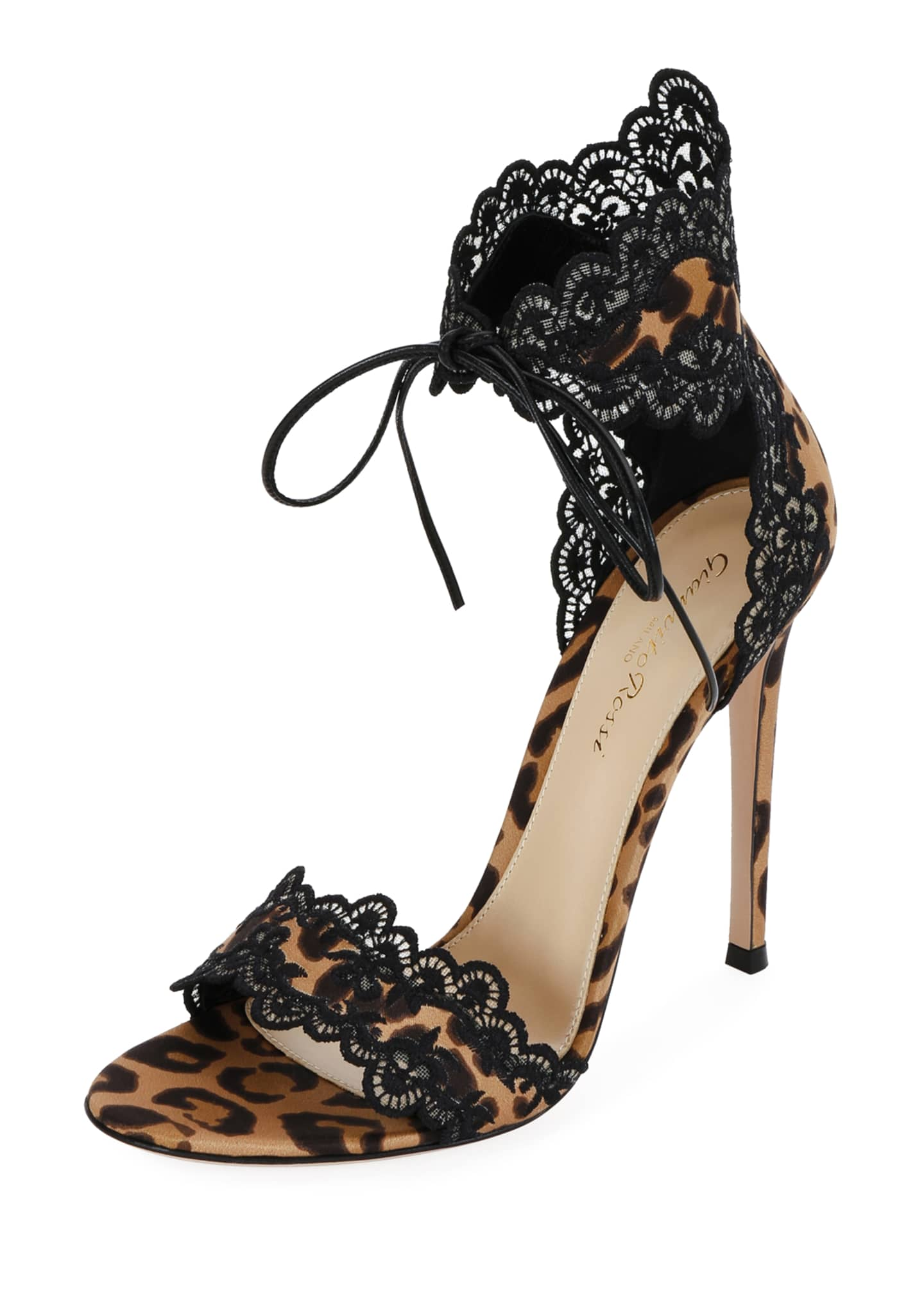 Gianvito Rossi Leopard Satin Lace Sandals