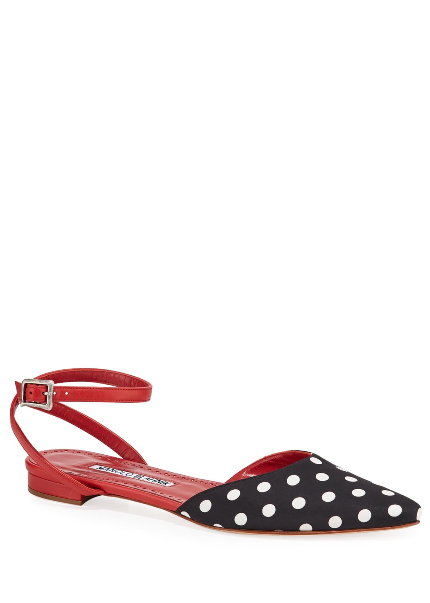 Manolo Blahnik Asenso Leather Ankle-Strap Flats