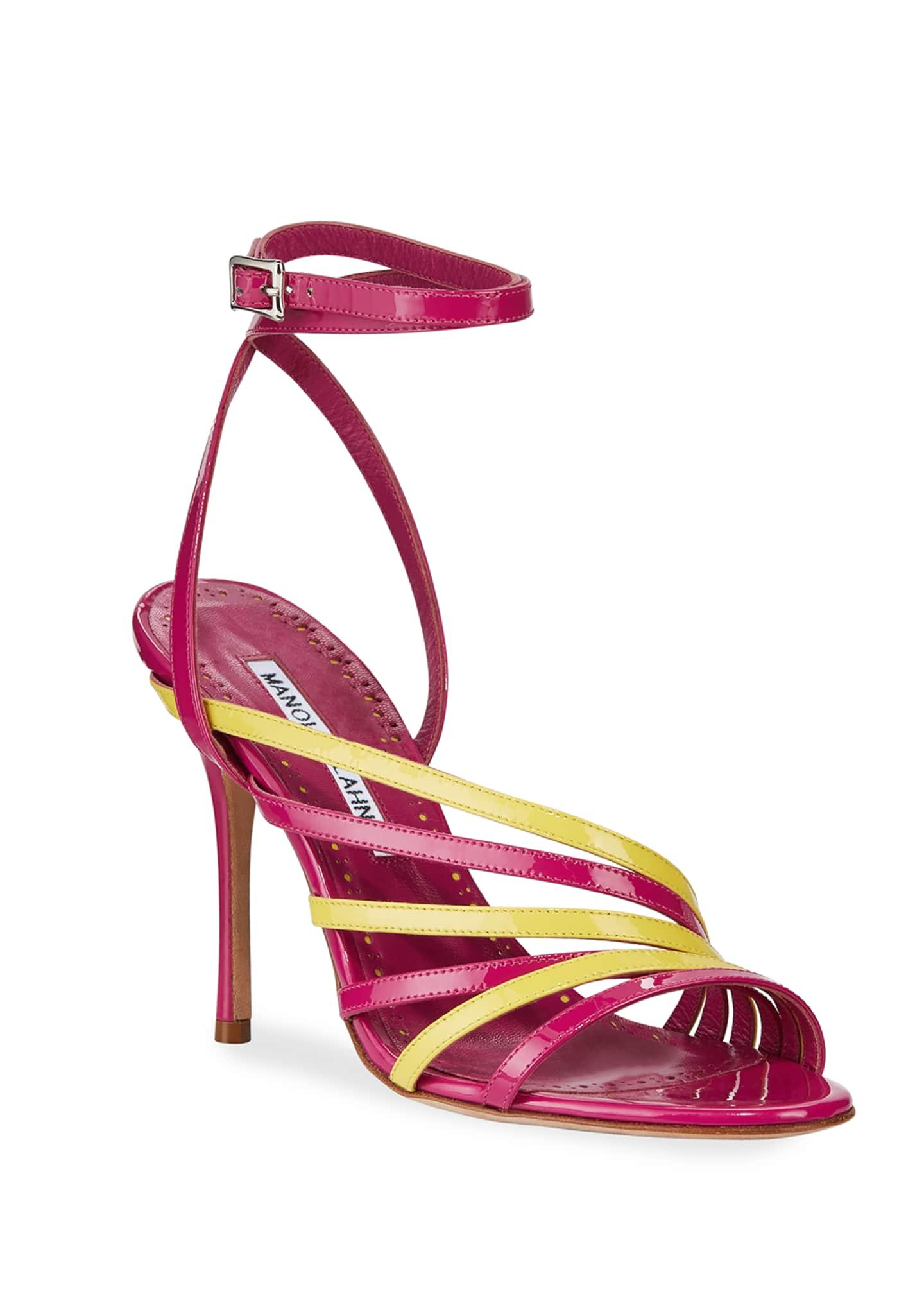 Manolo Blahnik Acante Patent Ankle-Wrap Sandals