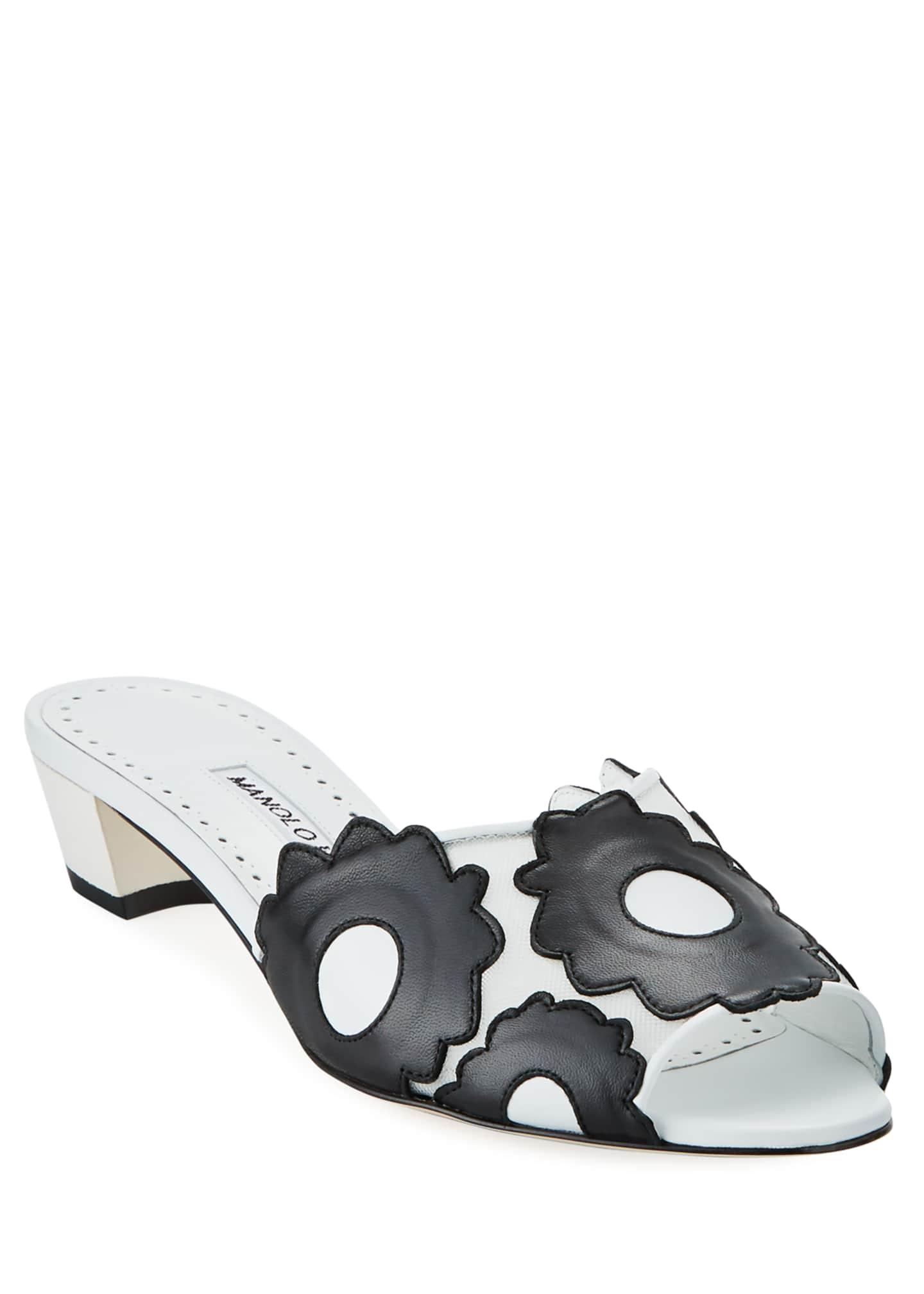 Manolo Blahnik Lottara 30mm Slide Sandals with Flowers