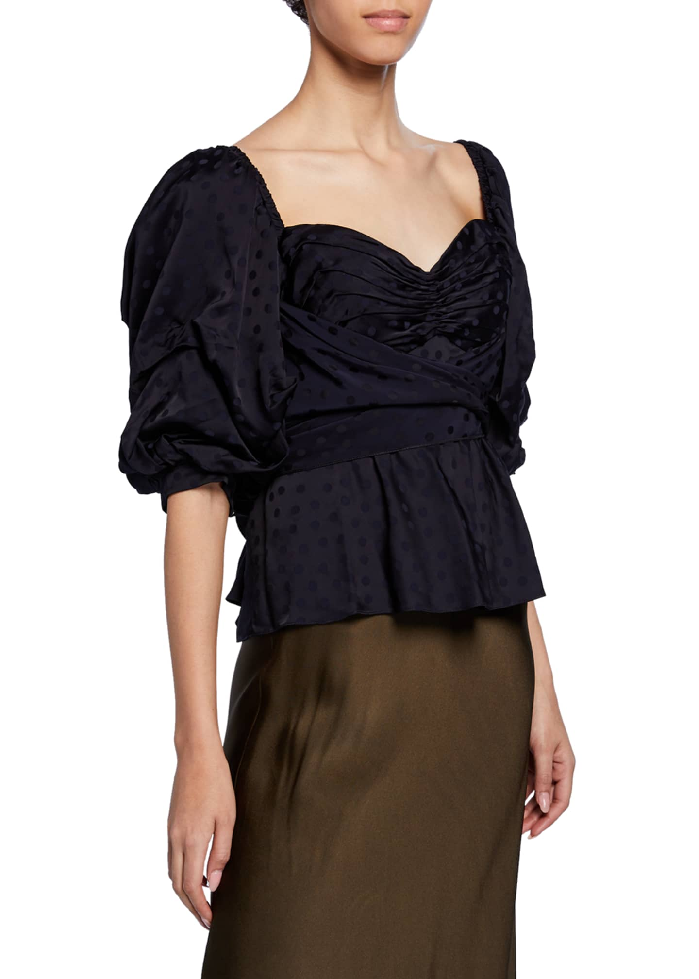 Image 2 of 4: Convertible Puff-Sleeve Sweetheart-Neck Jacquard Top