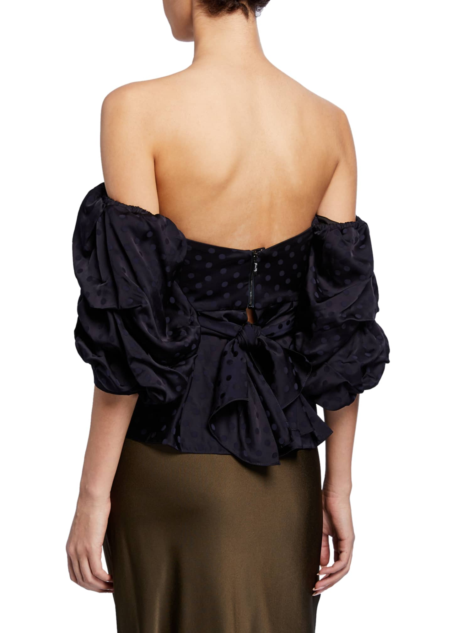Image 3 of 4: Convertible Puff-Sleeve Sweetheart-Neck Jacquard Top
