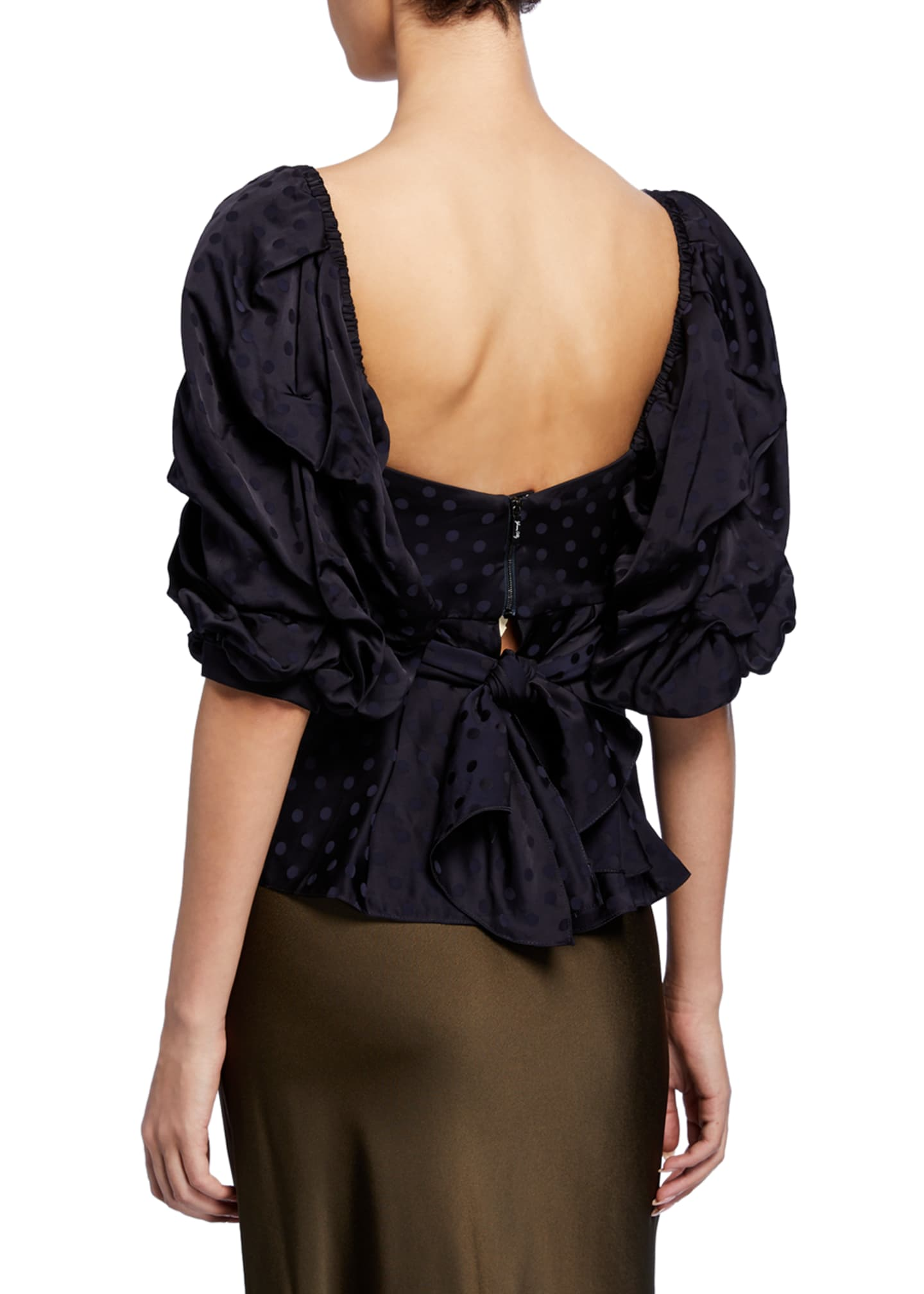 Image 4 of 4: Convertible Puff-Sleeve Sweetheart-Neck Jacquard Top