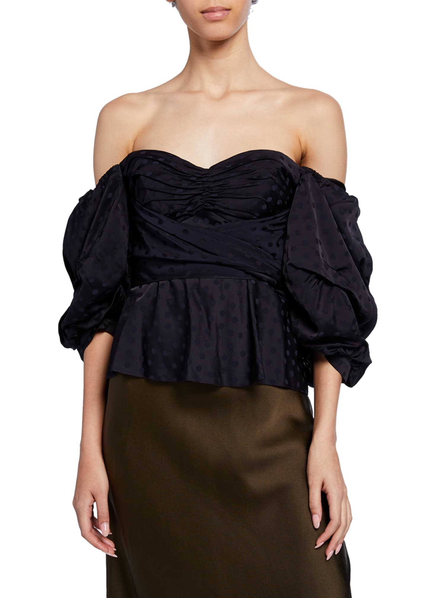 Image 1 of 4: Convertible Puff-Sleeve Sweetheart-Neck Jacquard Top