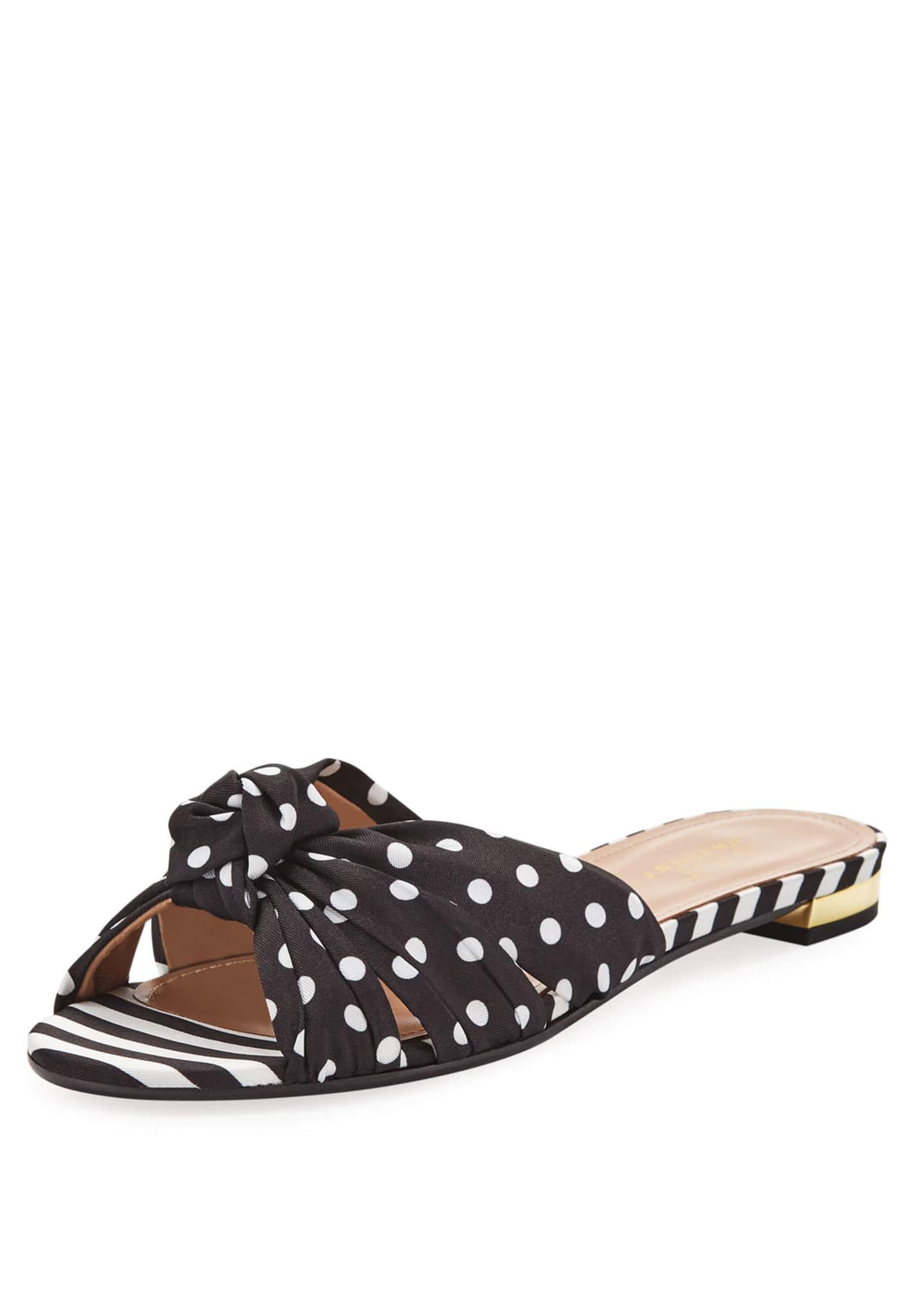 Aquazzura x Racil Menorca Mixed-Print Flat Slide Sandals