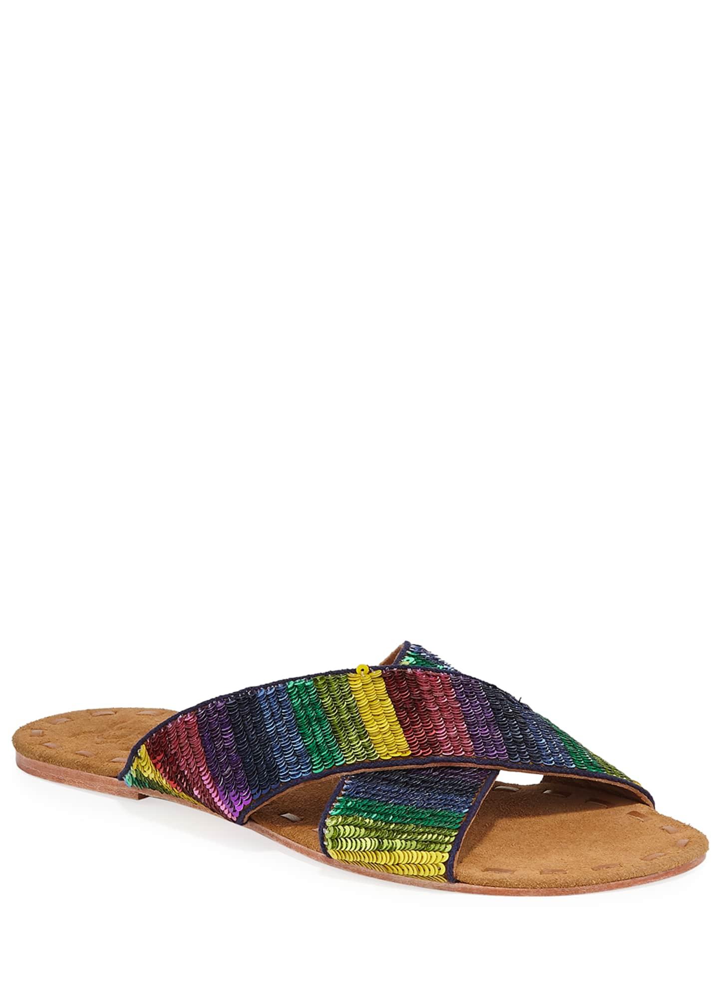 Figue Nilu Sequined Leather Slide Sandals