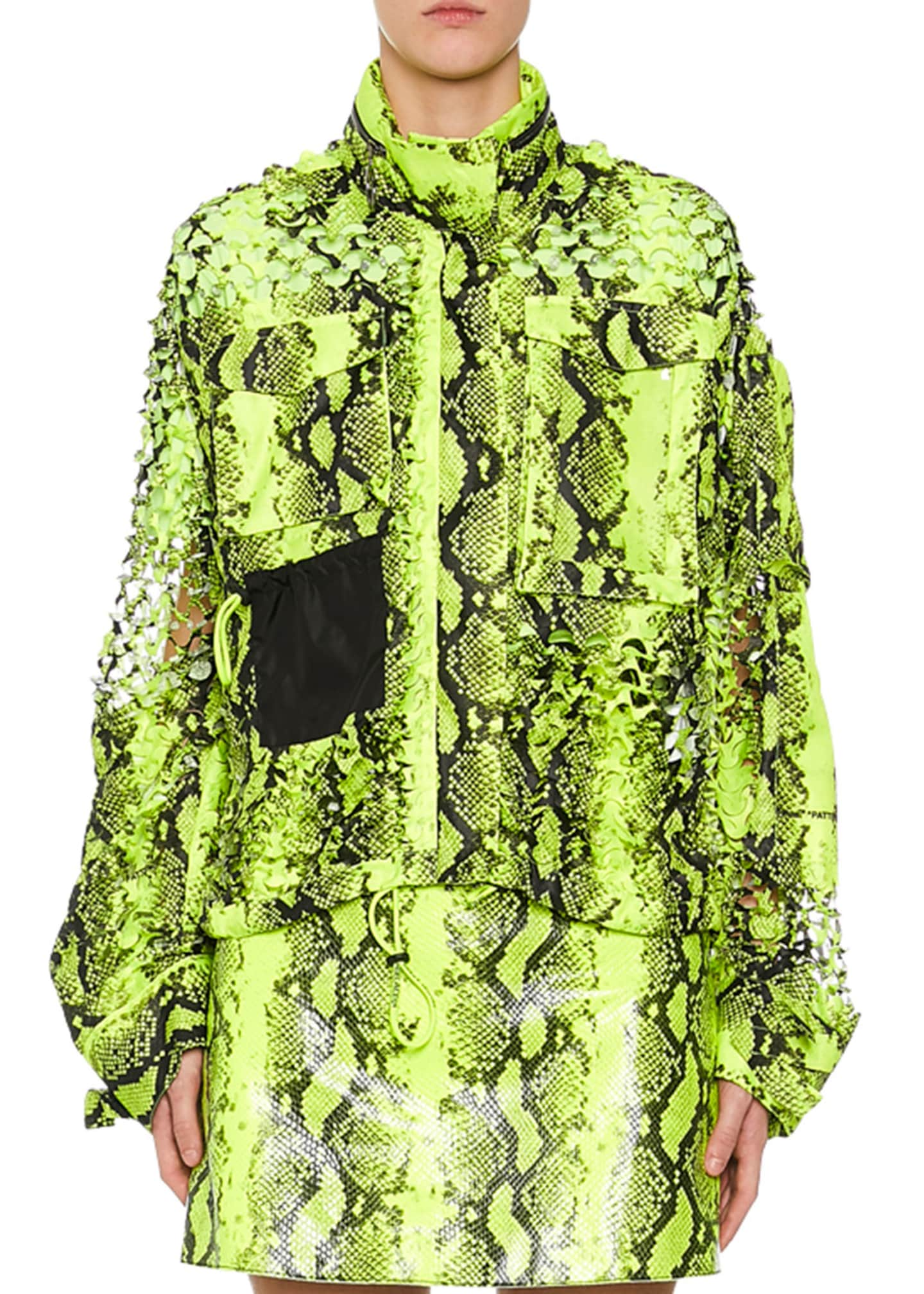 Off-White Python-Print Laser-Cut Utility Coat