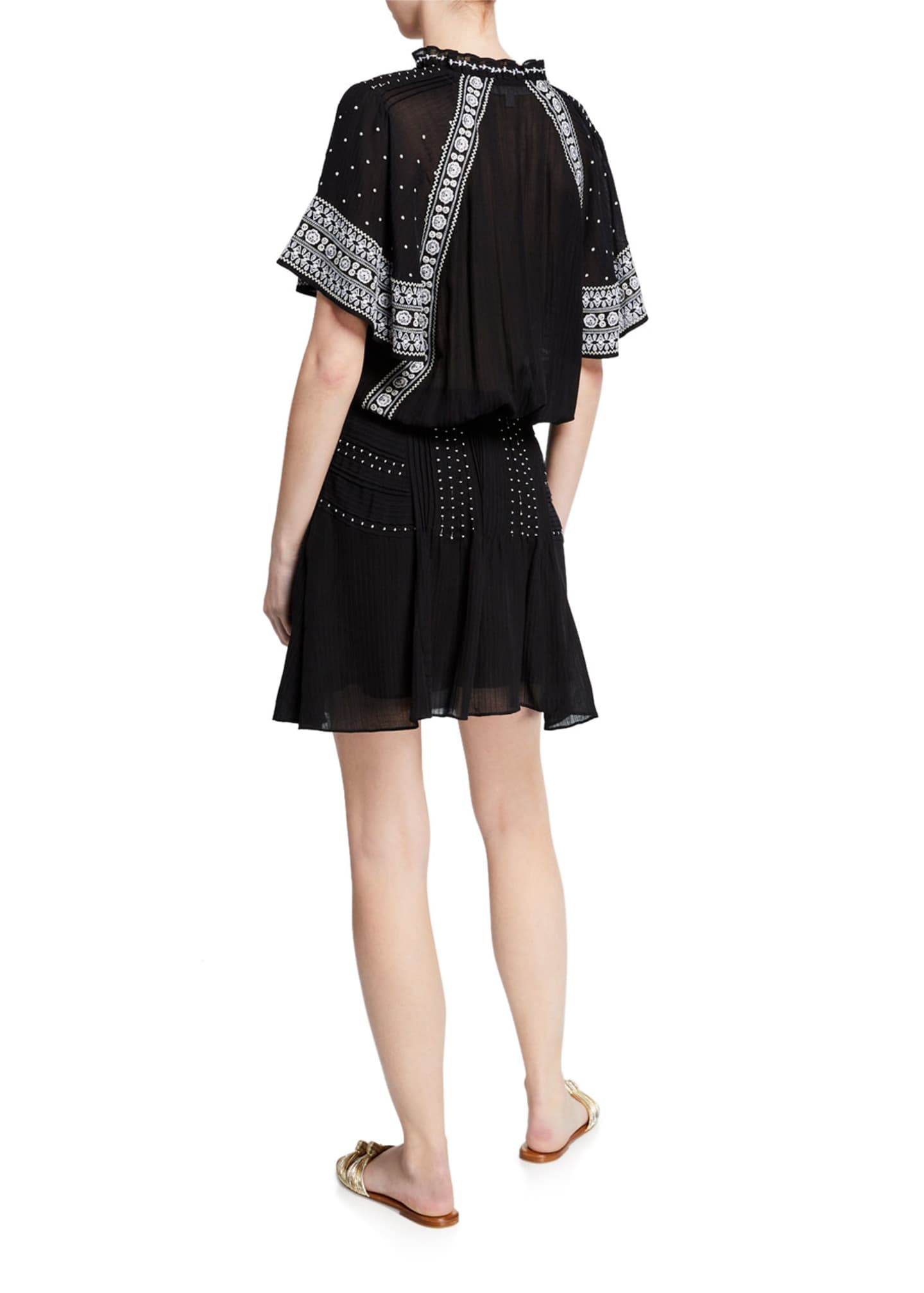 Image 2 of 3: Minos Embroidered Flutter-Sleeve Short Dress